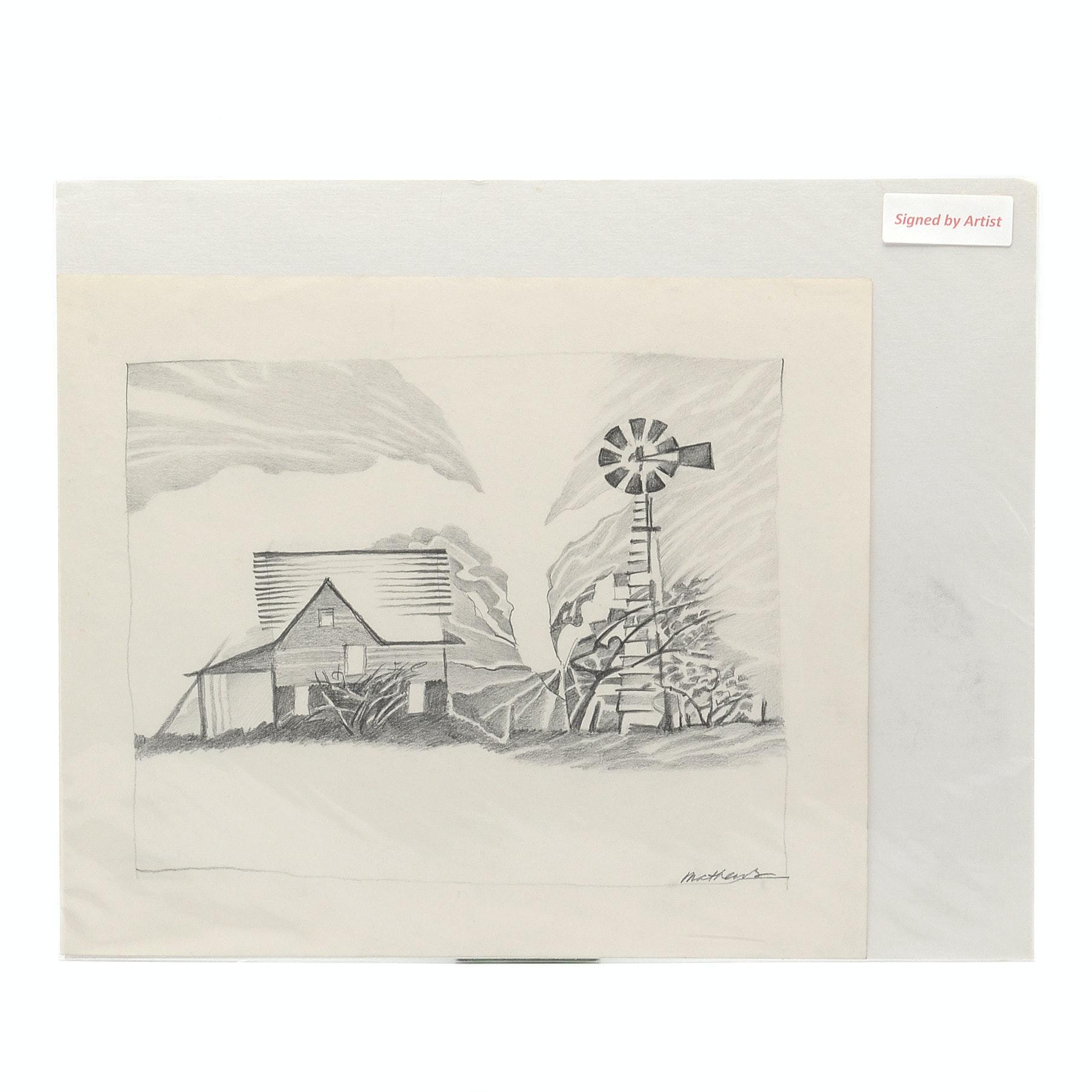 Carol Mathews Graphite Drawing on Paper of Pastoral Scene