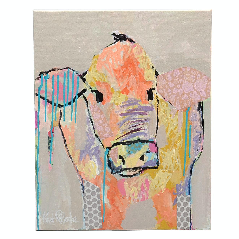 "Kait Roberts Acrylic Painting on Canvas ""Rosalie"""