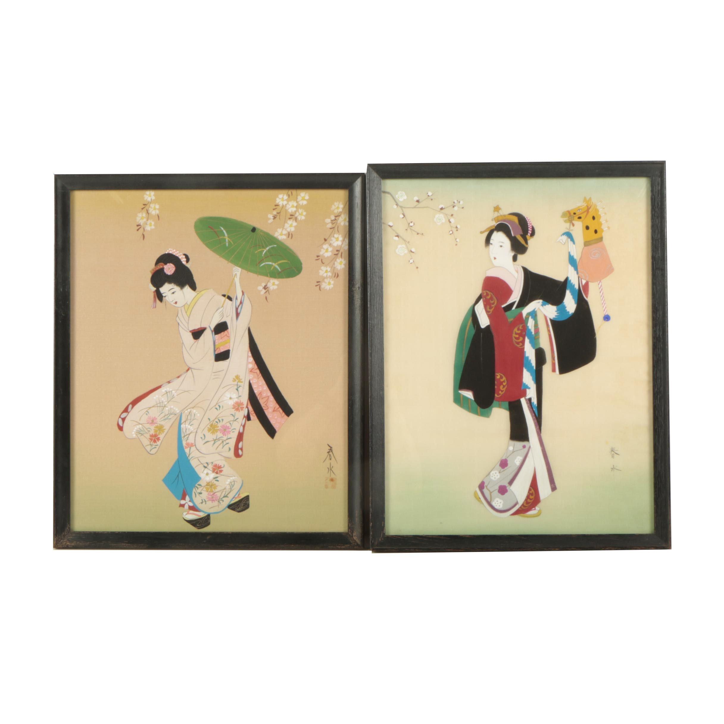 Pair of Japanese Watercolor and Gouache Paintings of Elegant Women