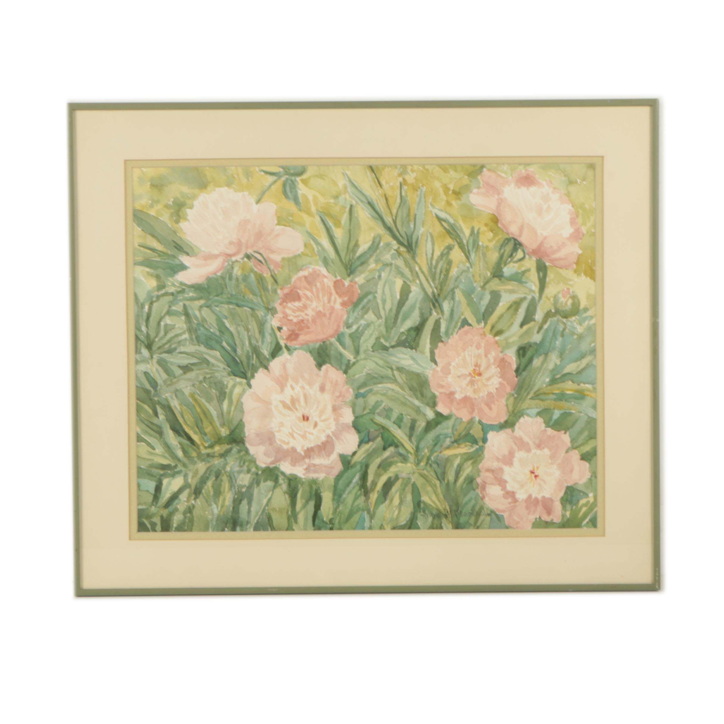Anne A. Marshall Watercolor Painting of Flowers