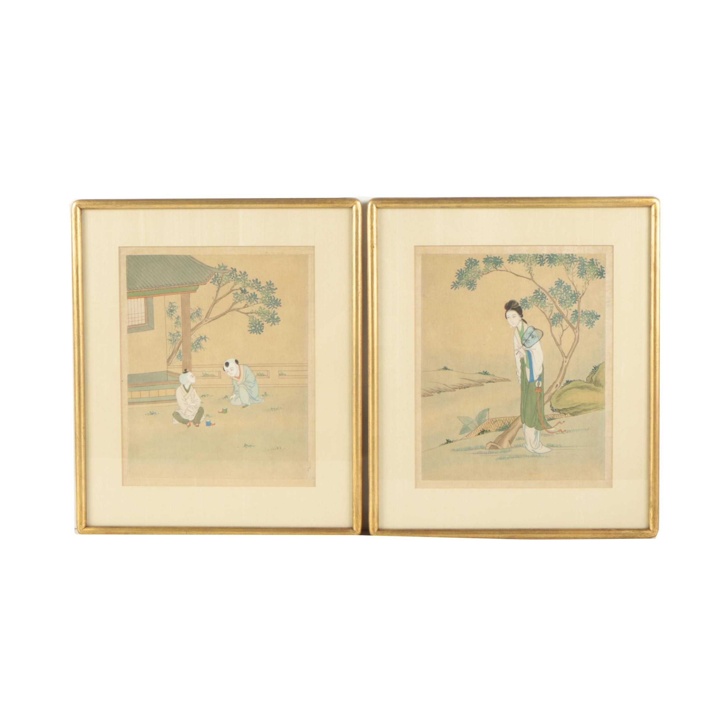 Pair of Chinese Watercolor and Gouache Paintings