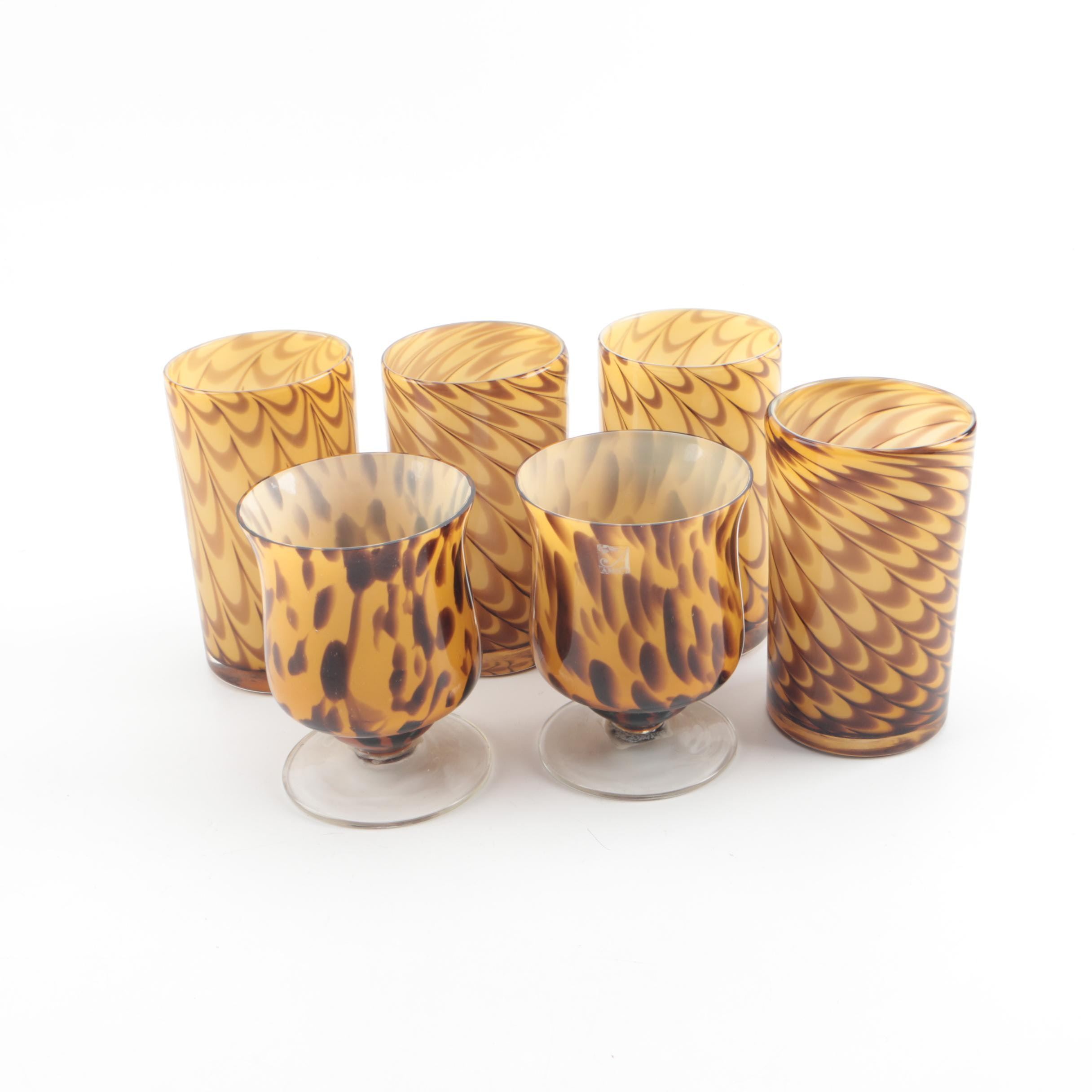 """Global Amici Blown Glass """"Peacock"""" Tumblers and """"Safari"""" Footed Glasses"""