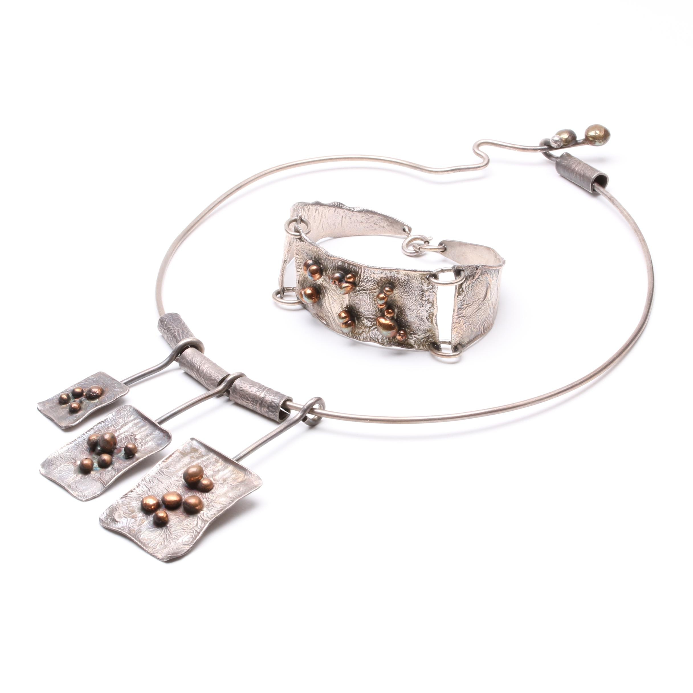 Sterling Silver Handcrafted Italian Modernist Necklace and Bracelet