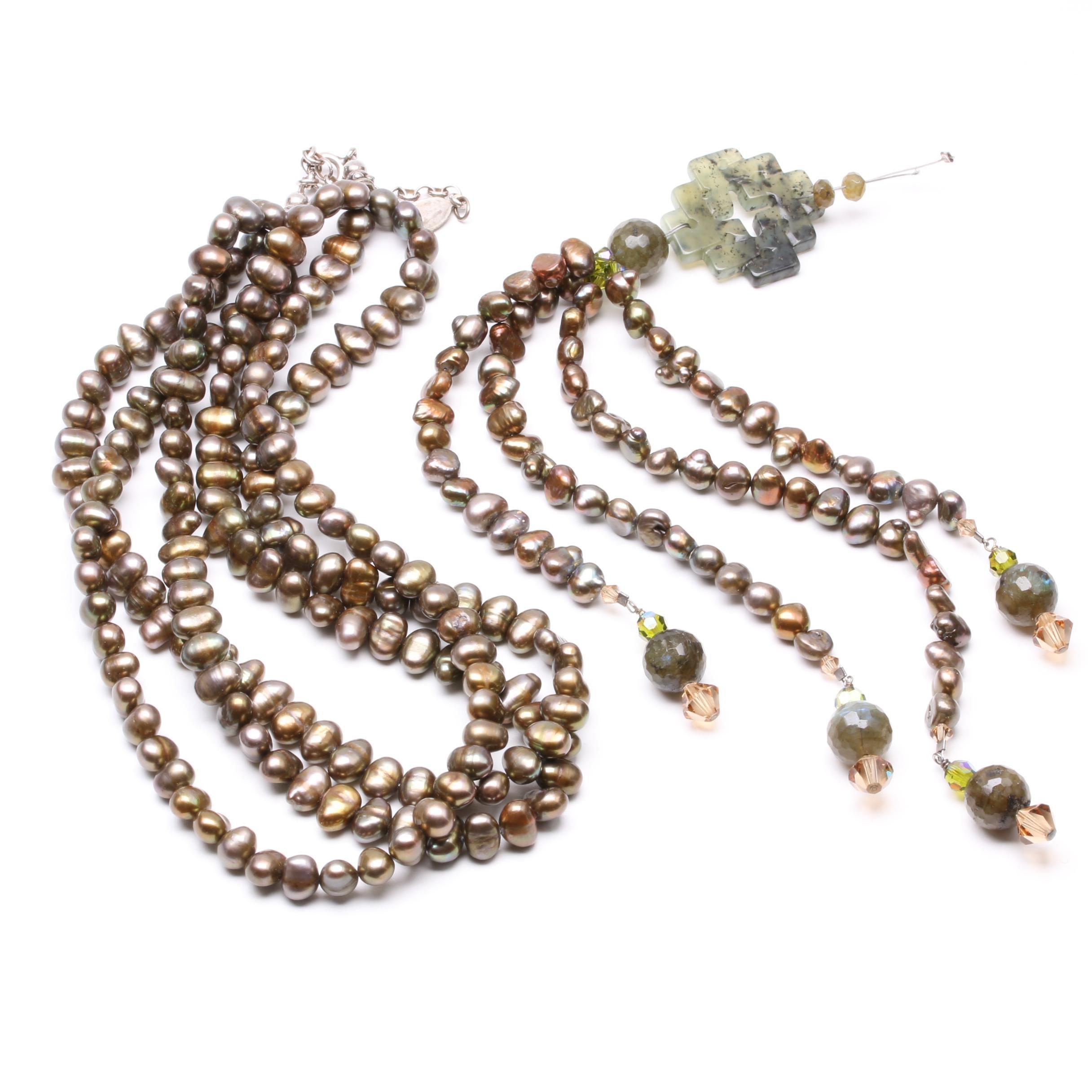Bejewel by Carroll Dorsey Walker Sterling Silver Sautoire Pearl Necklace