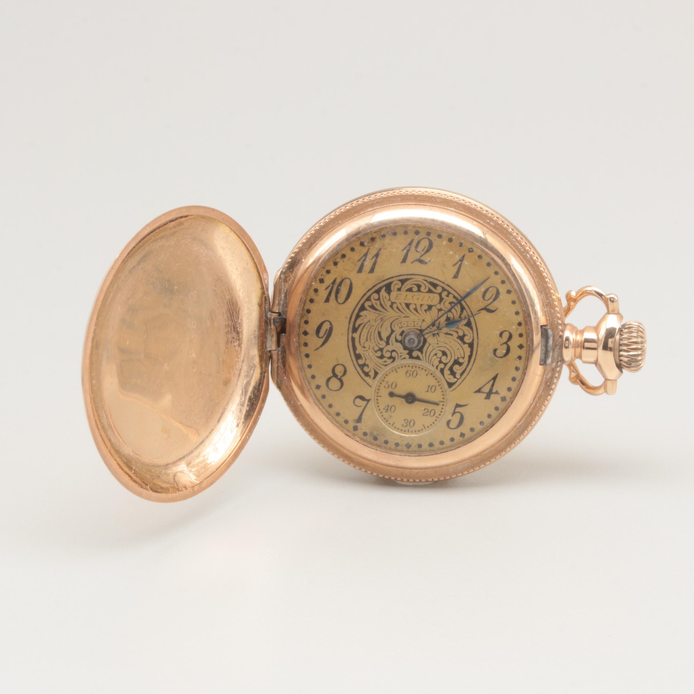 Vintage Circa 1910 Elgin Gold Filled Pocket Watch