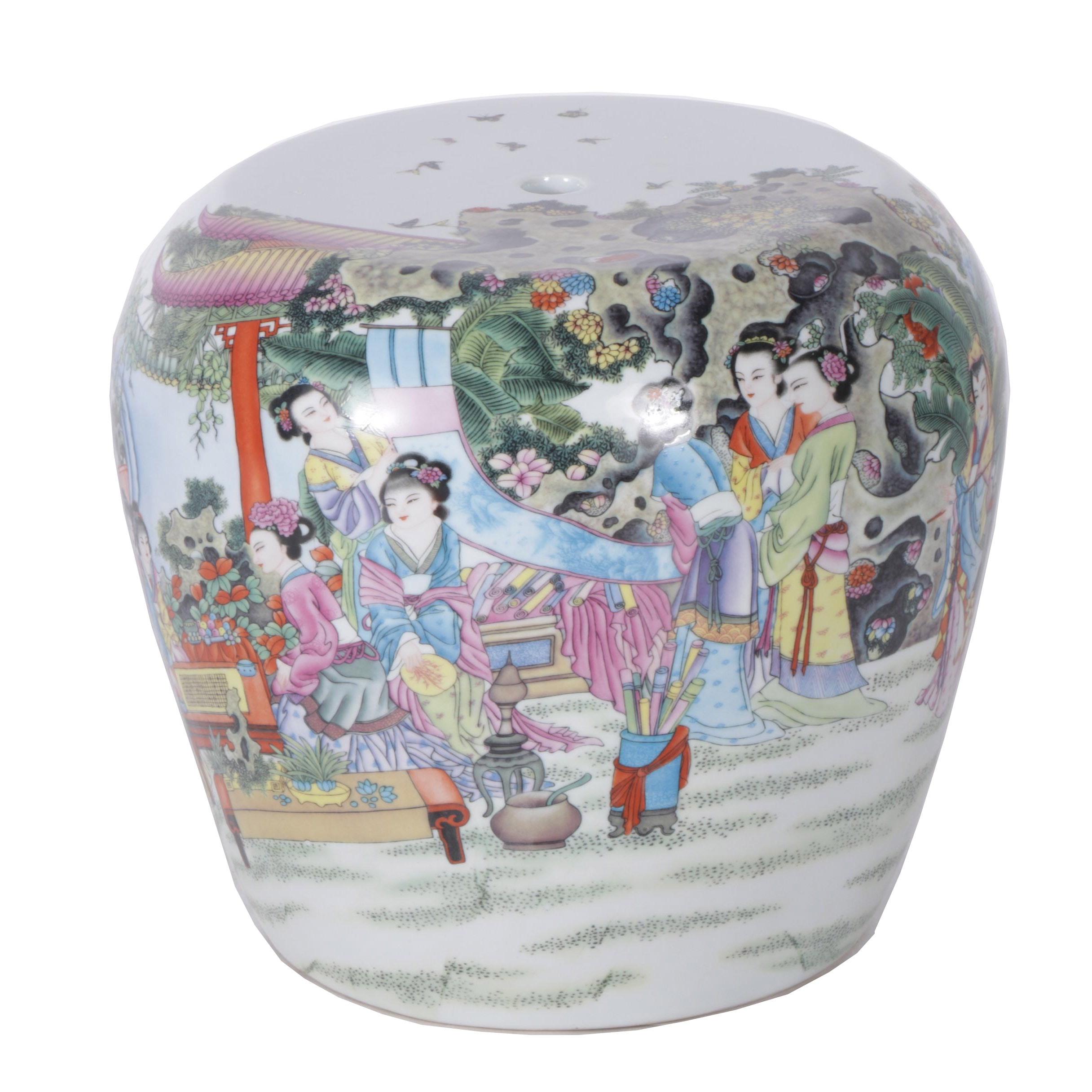 """Chinese """"Twelve Beauties of Jinling"""" Porcelain Stool"""