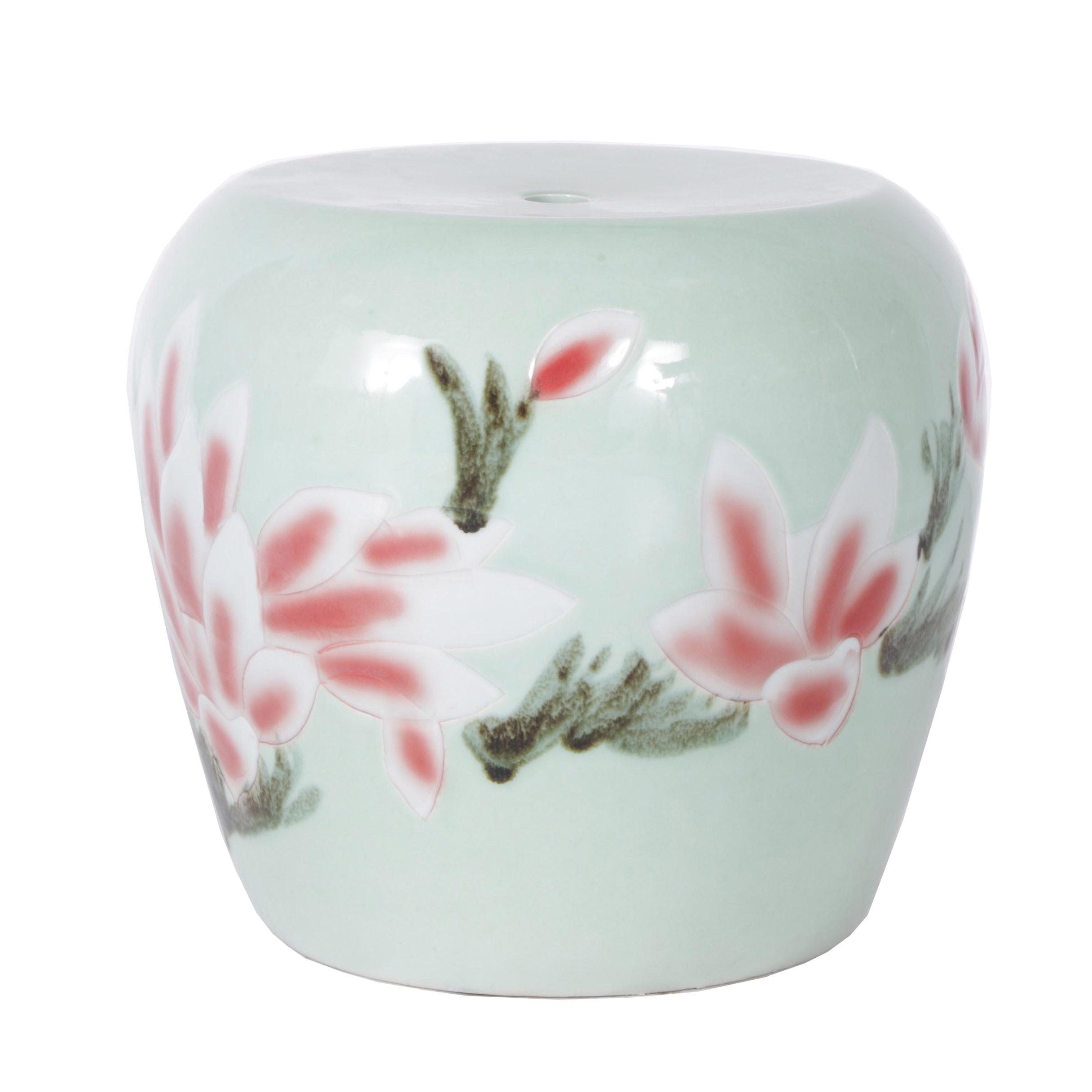 Chinese Light Green Ceramic Garden Stool with Magnolia Motif