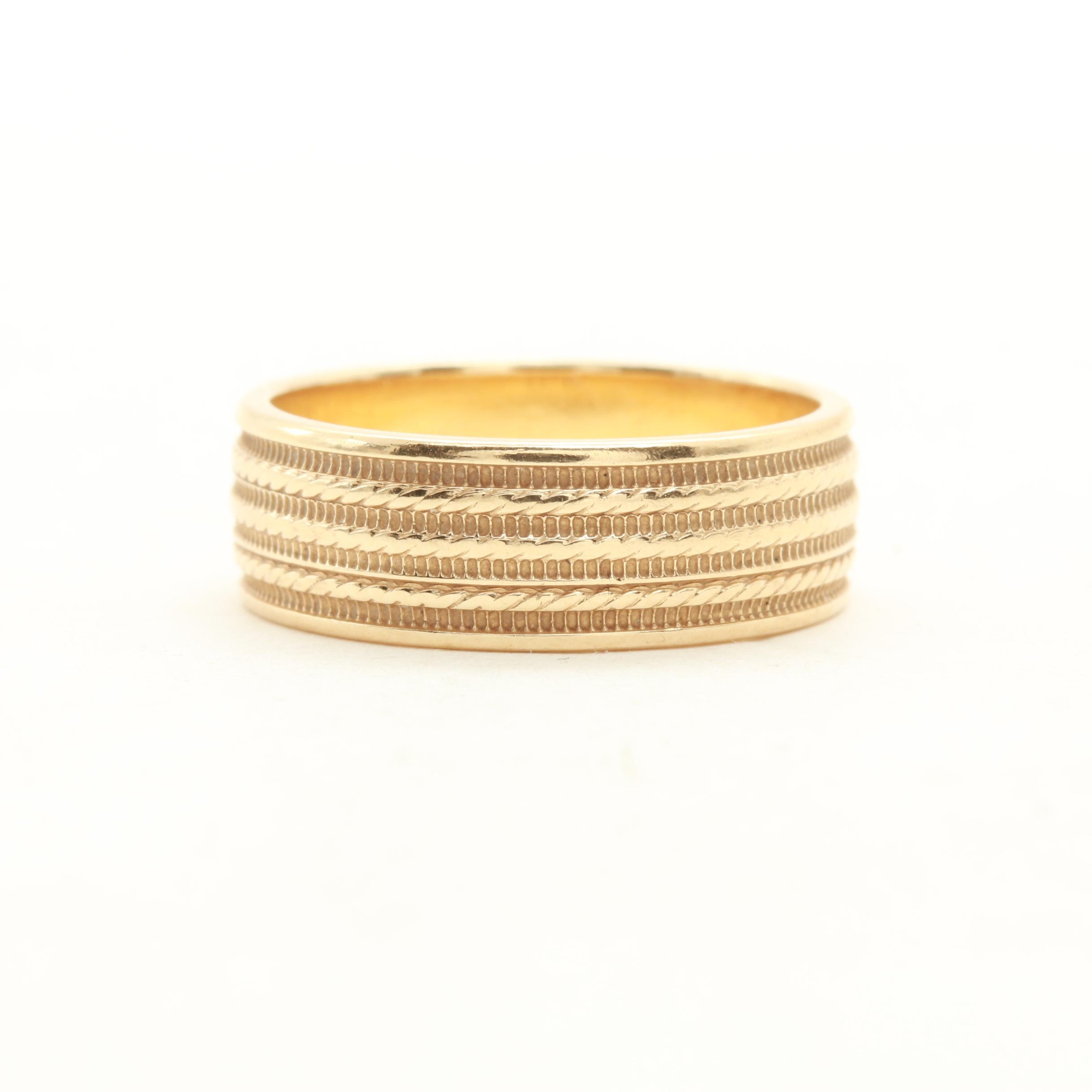 14K Yellow Gold Etched Gold Ring