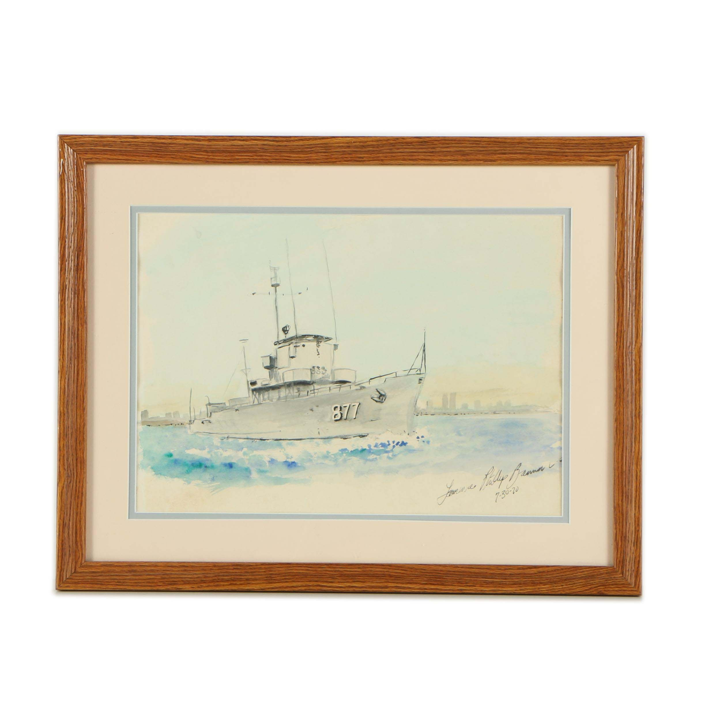 Lawrence Phillip Banner Watercolor Painting of the USS Perkins