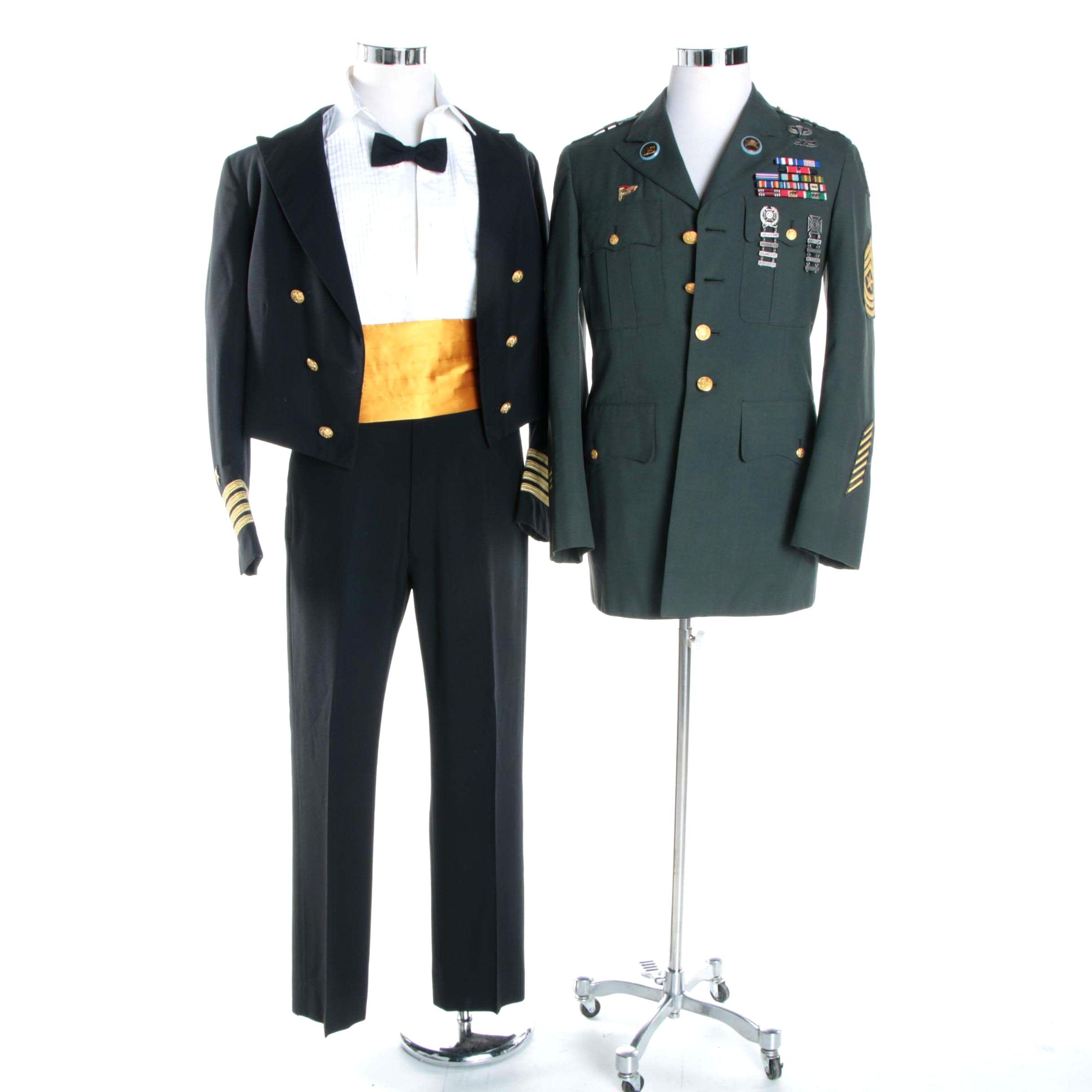 Men's Vintage U.S. Army Uniform Jacket and Navy Formal Uniform