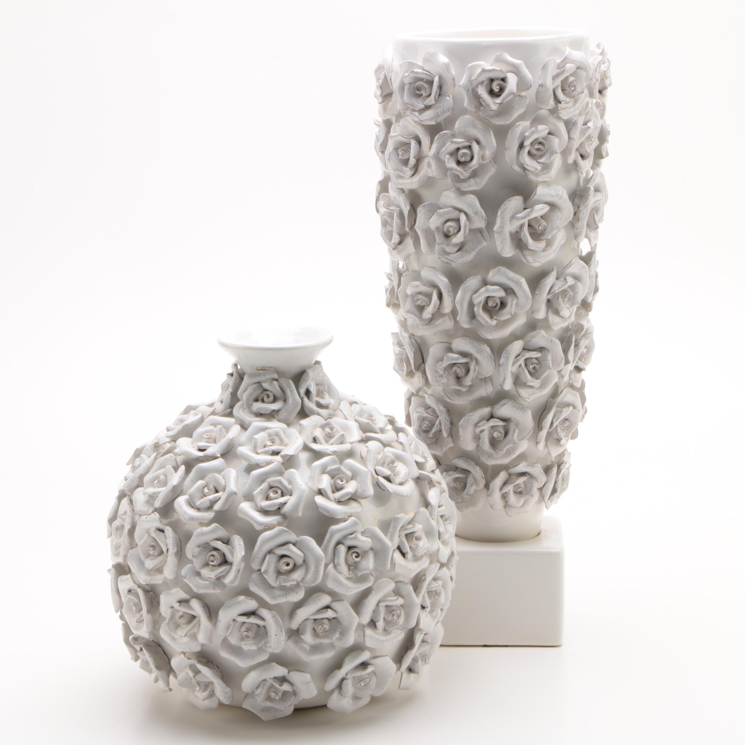 Contemporary Rose Motif Ceramic Vases by PTMD Collection