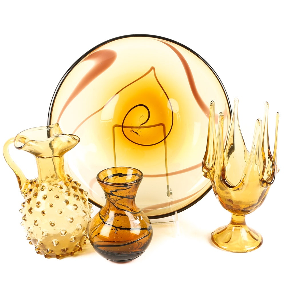 Decorative Amber Art Glass