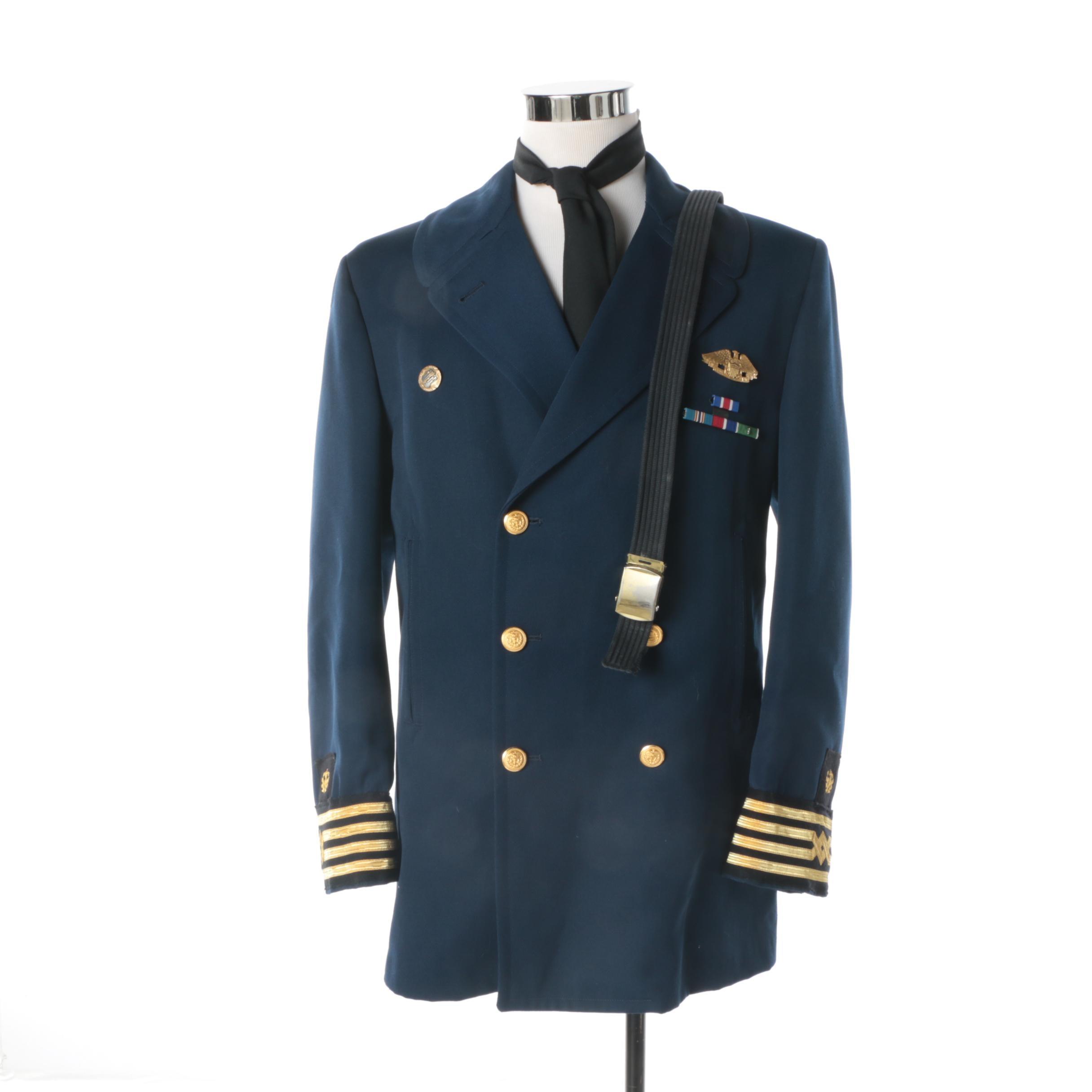 Men's Circa 1970 US Navy Reserve Overcoat, Belt and Tie