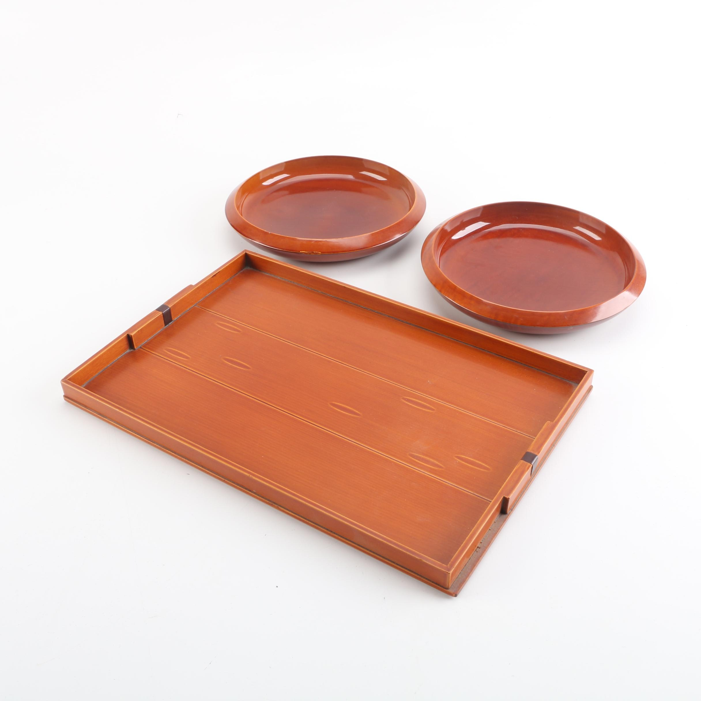 Wooden Serving Tray and Shallow Bowls