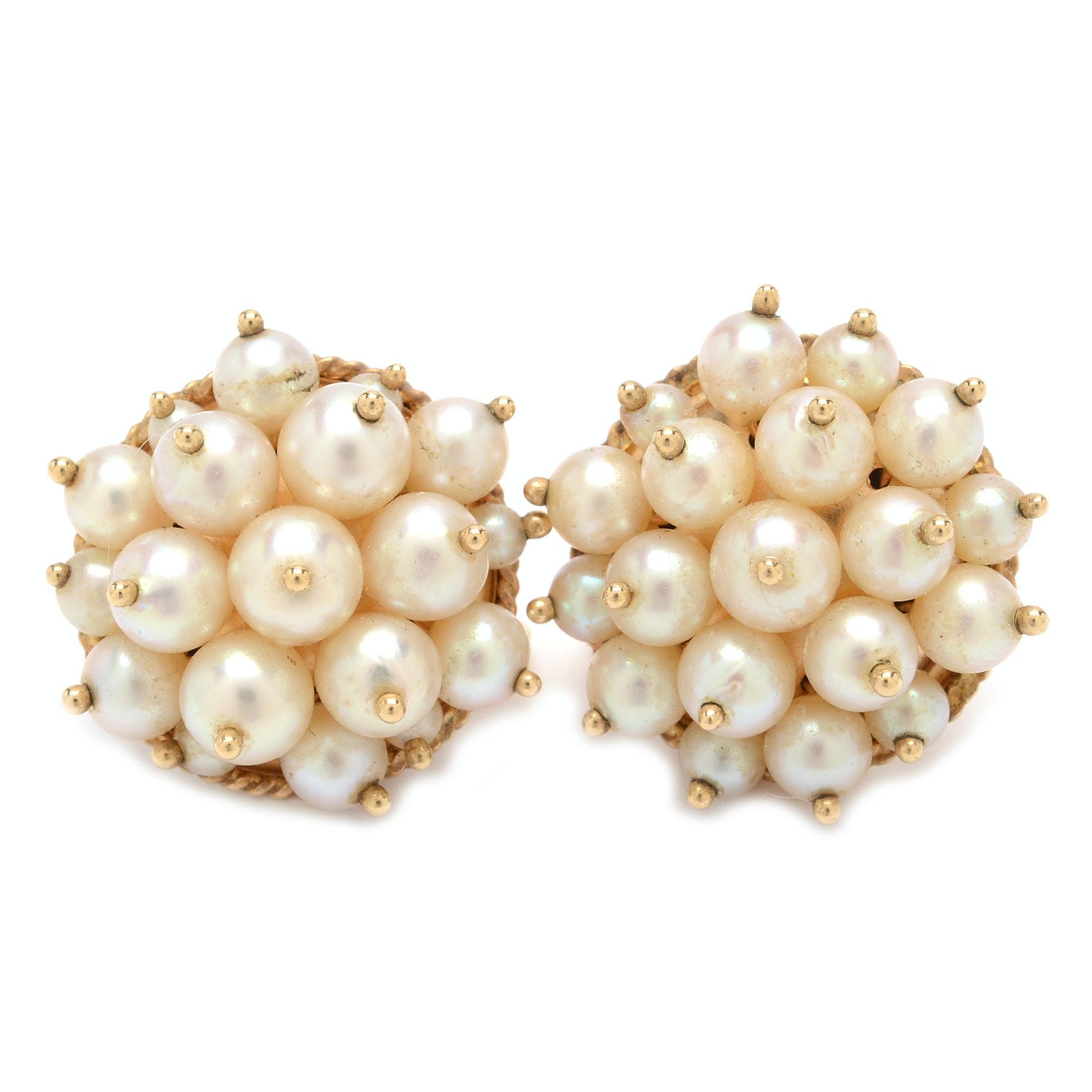 14K Yellow Gold Pearl Cluster Earrings