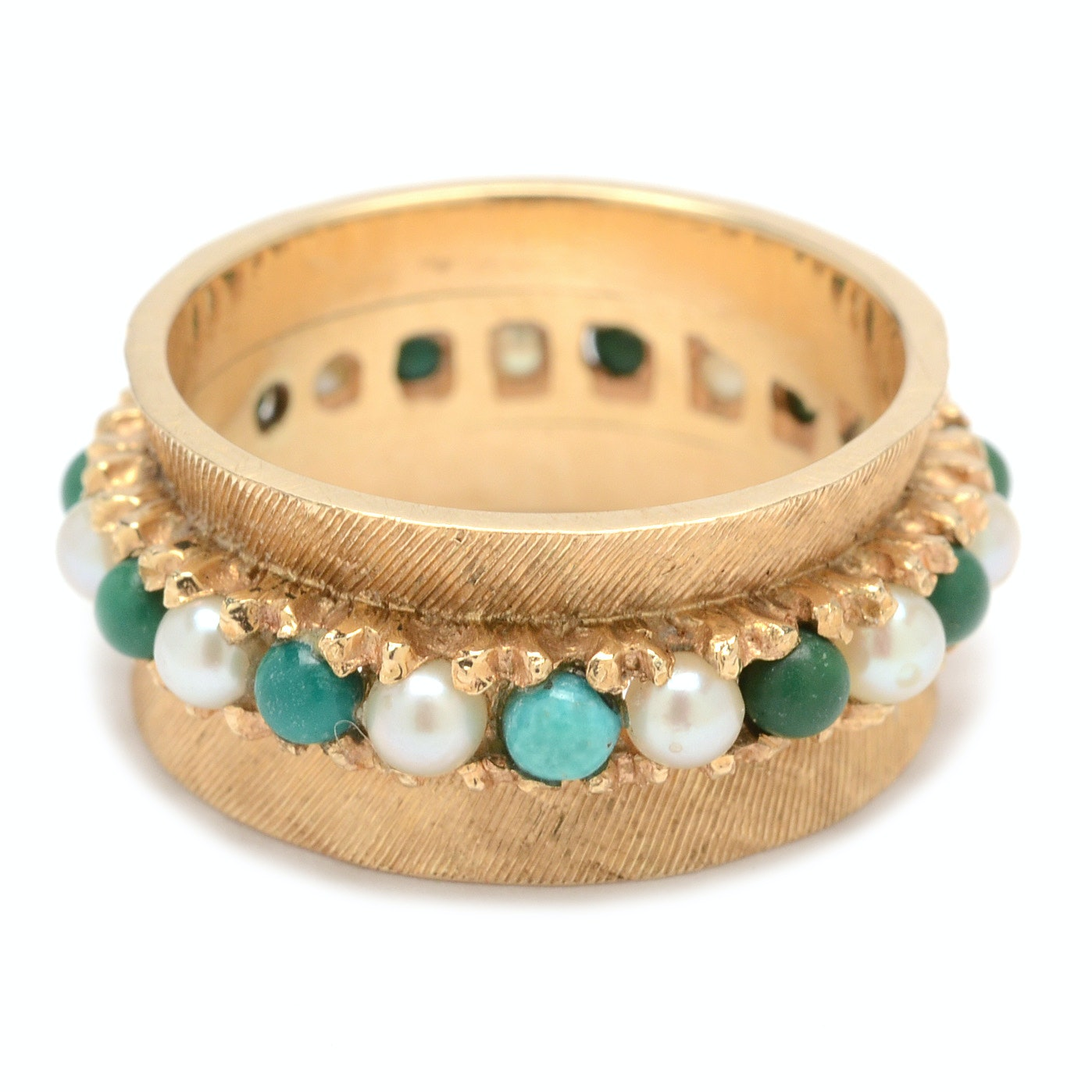 14K Yellow Gold Pearl and Turquoise Ring