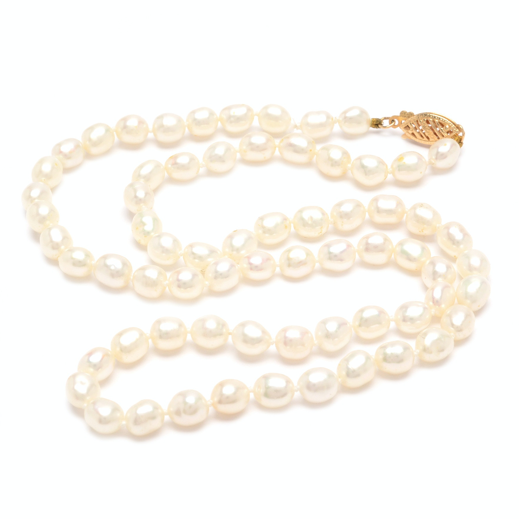 14K Yellow Gold Freshwater Pearl Necklace