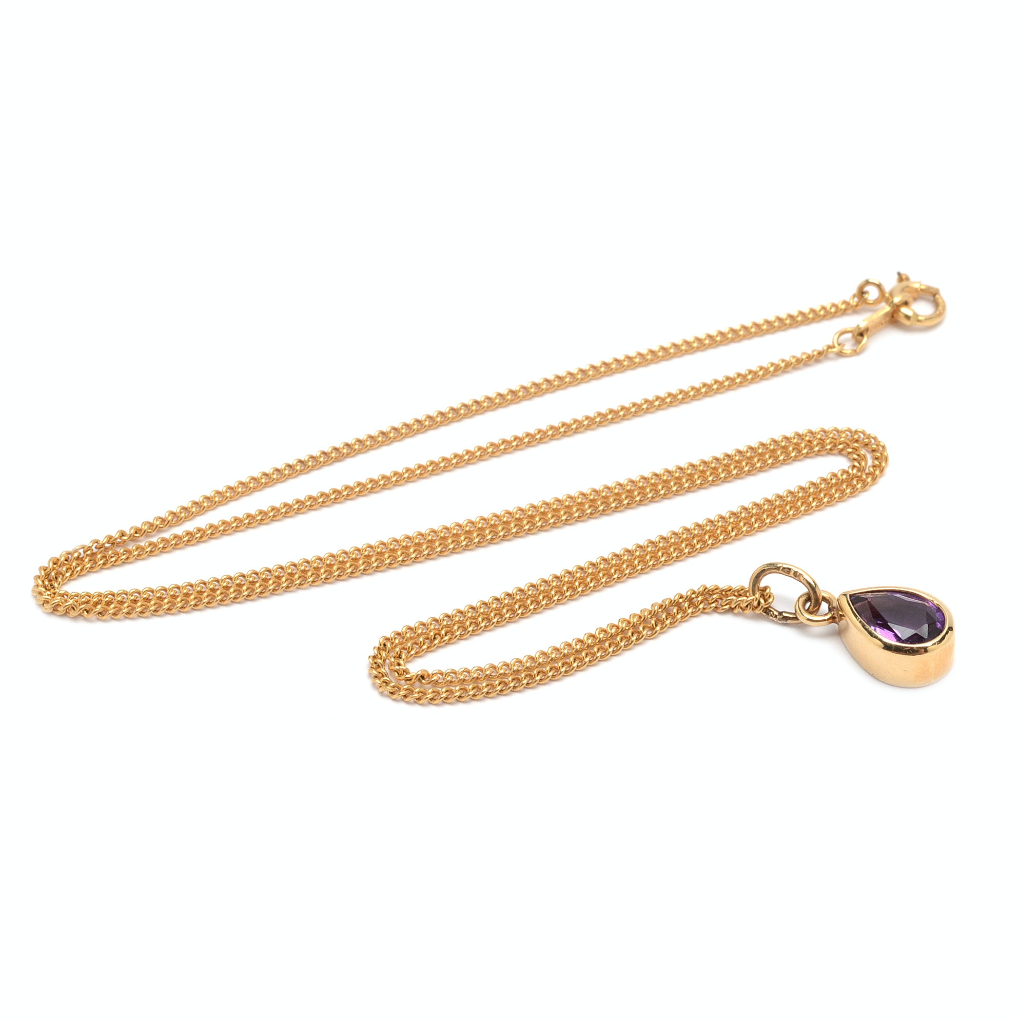 Jabel Jewelry 14K Yellow Gold Amethyst Necklace