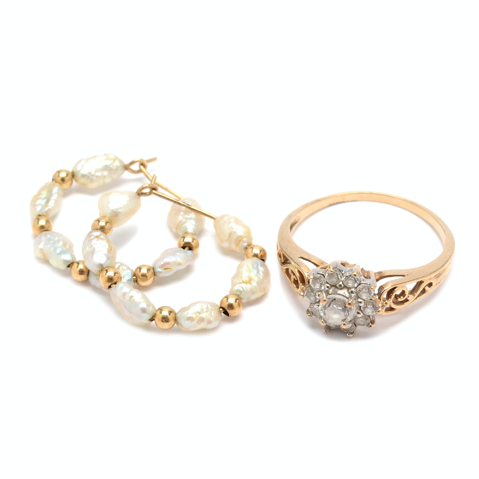 14K Gold Freshwater Pearl Earrings and 10K Gold Cubic Zirconia Ring