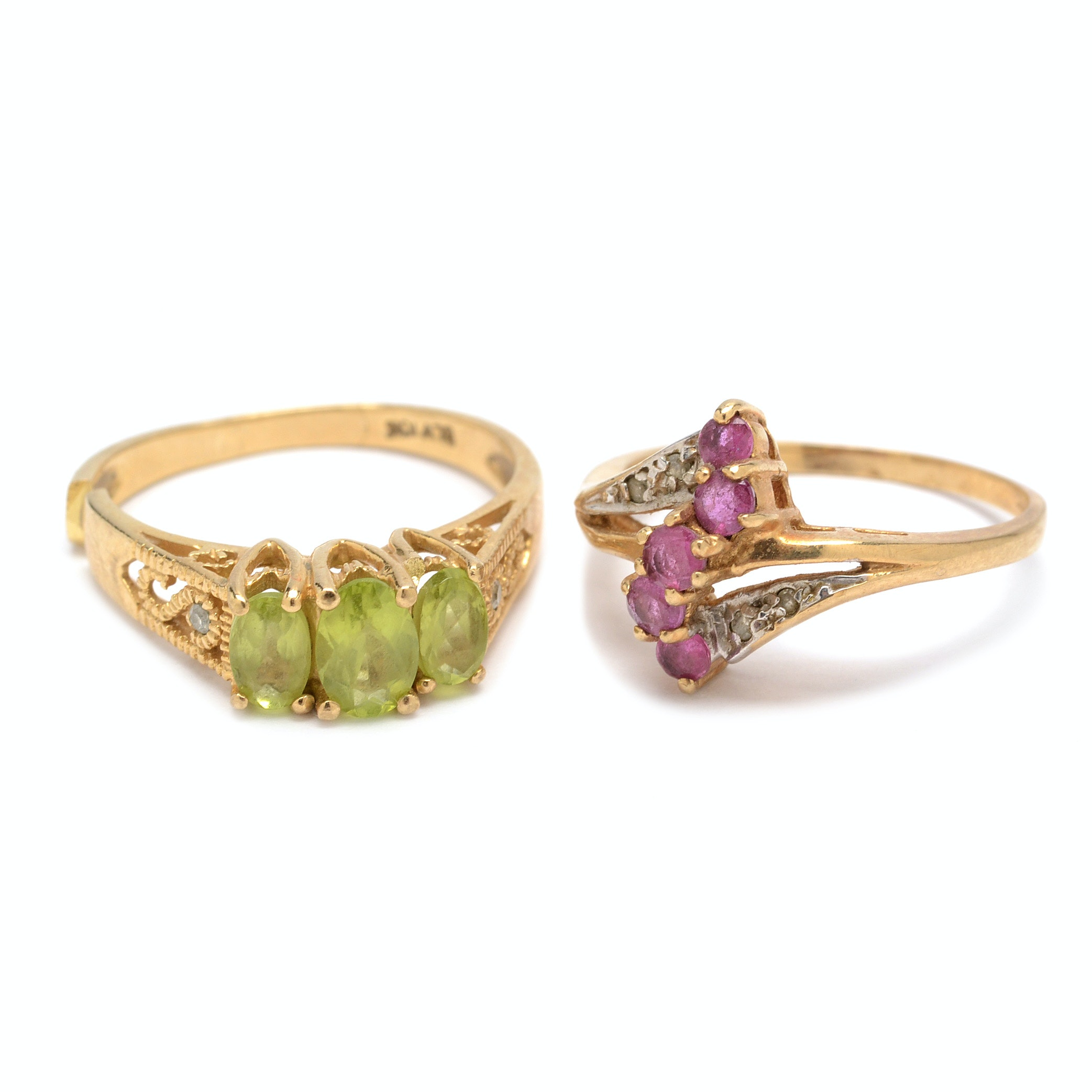 10K Yellow Gold Rings With Gemstones and Diamond Accents