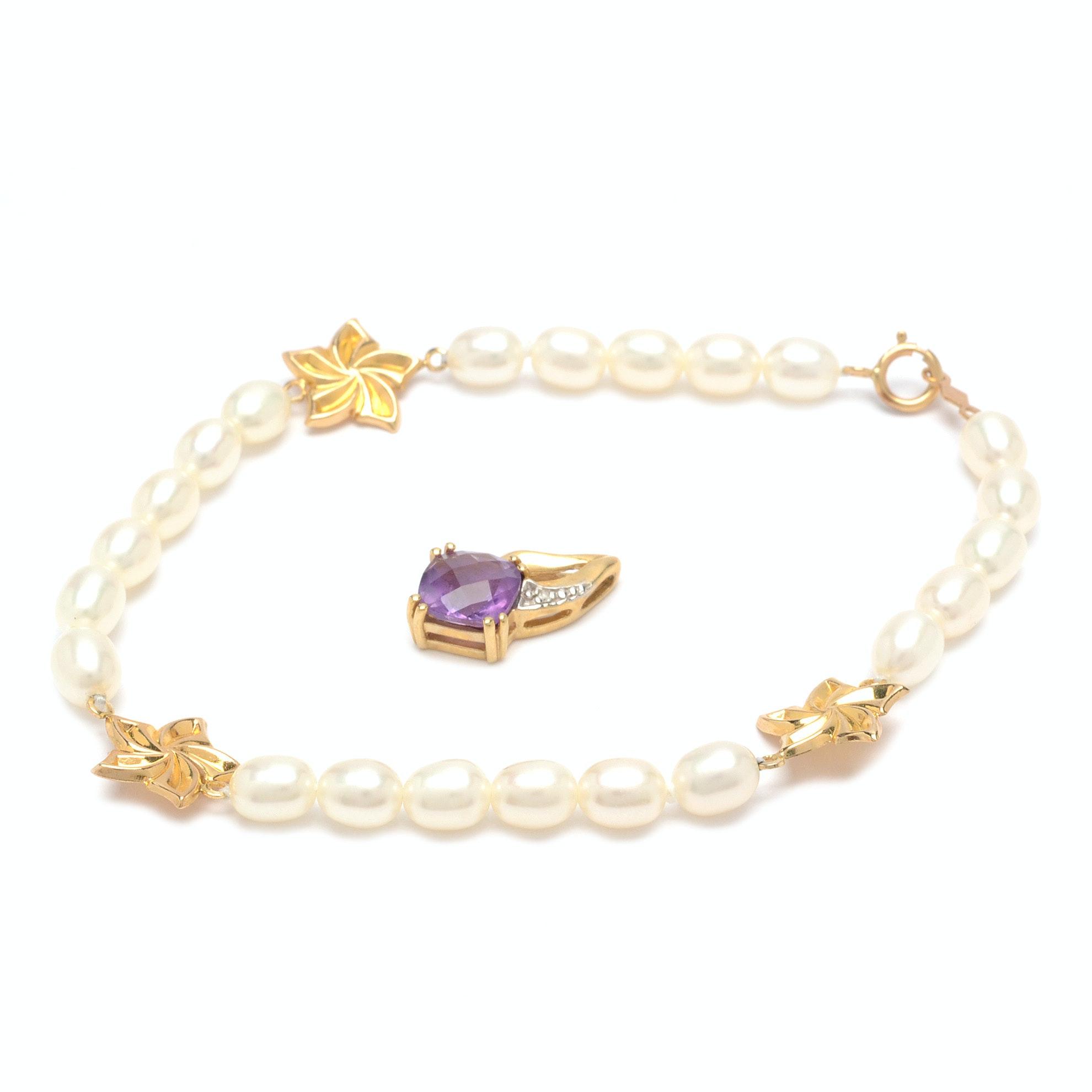 10K Yellow Gold Amethyst Diamond Pendant Plus Pearl Bracelet