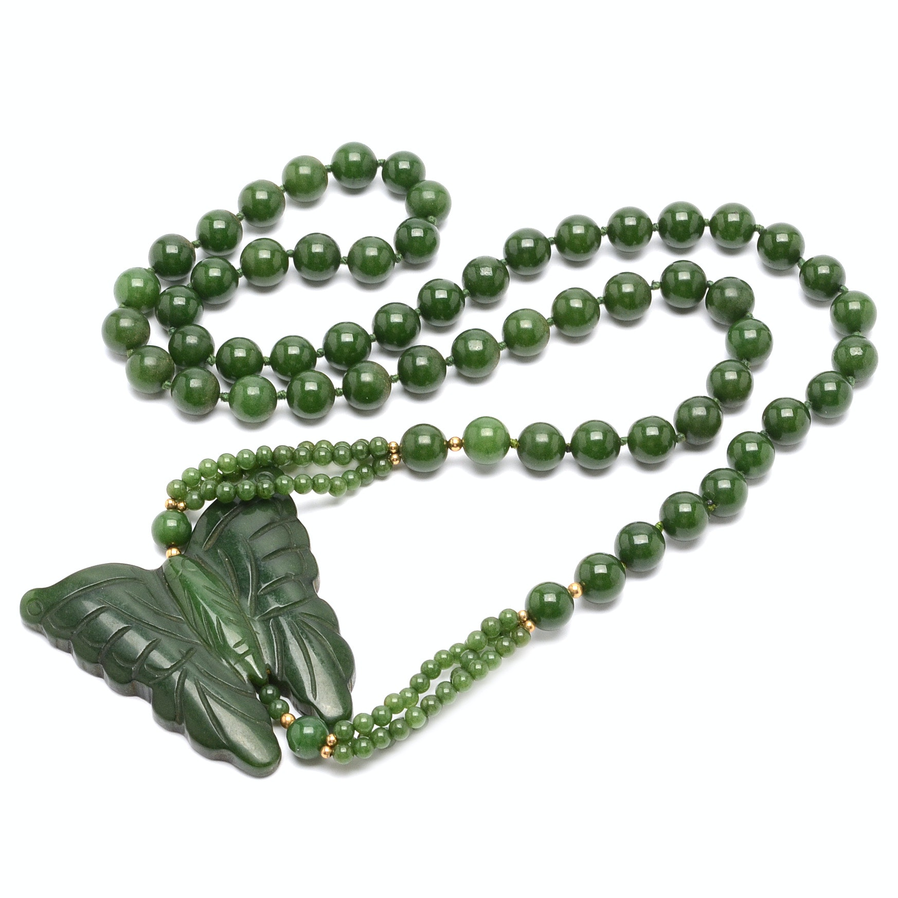 Beaded Nephrite Necklace Showcasing a Carved Butterfly Pendant