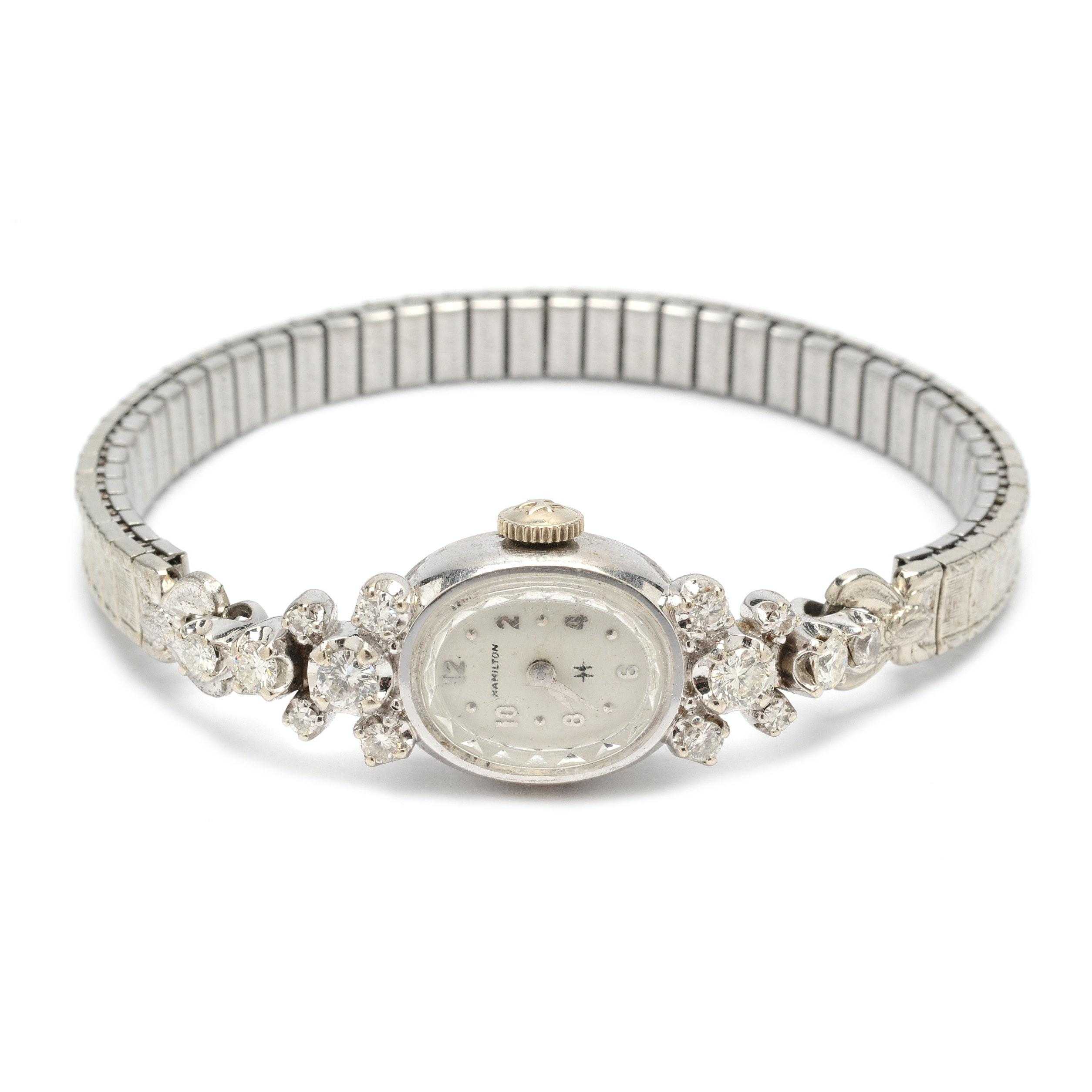 14K White Gold  1.04 CTW Diamond Hamilton Wristwatch
