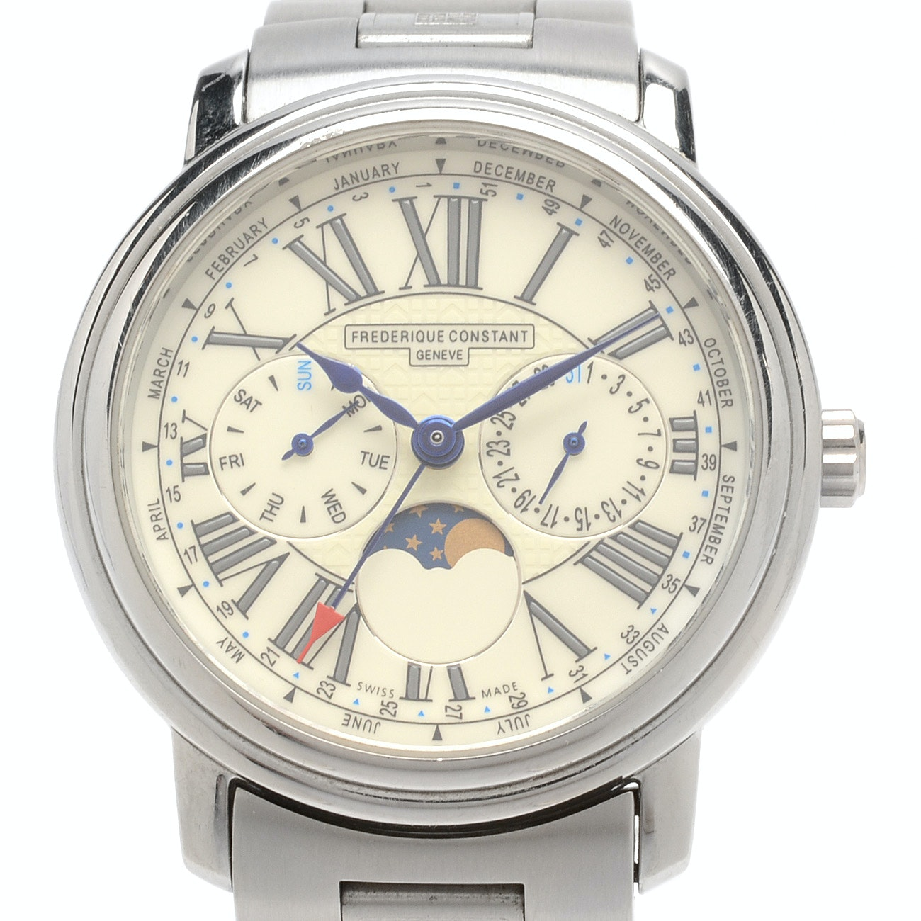 Frederique Constant Swiss Watch with Triple Date and Moon Phase Display