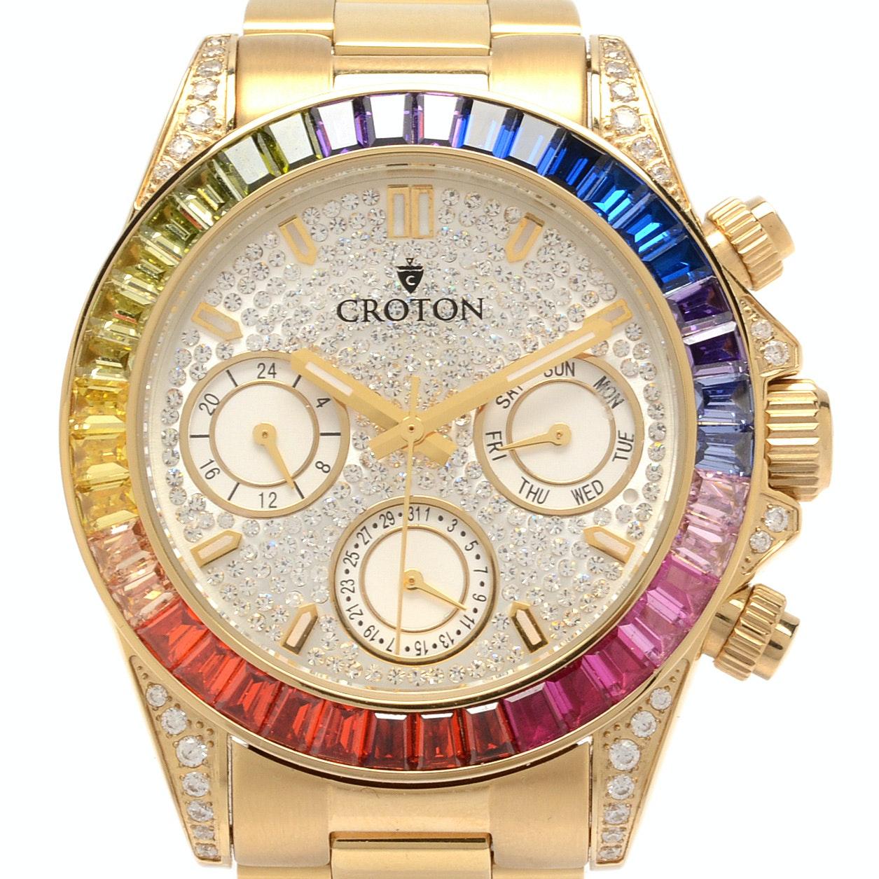 Croton Chronometer Wristwatch with Multicolored Gemstone Bezel
