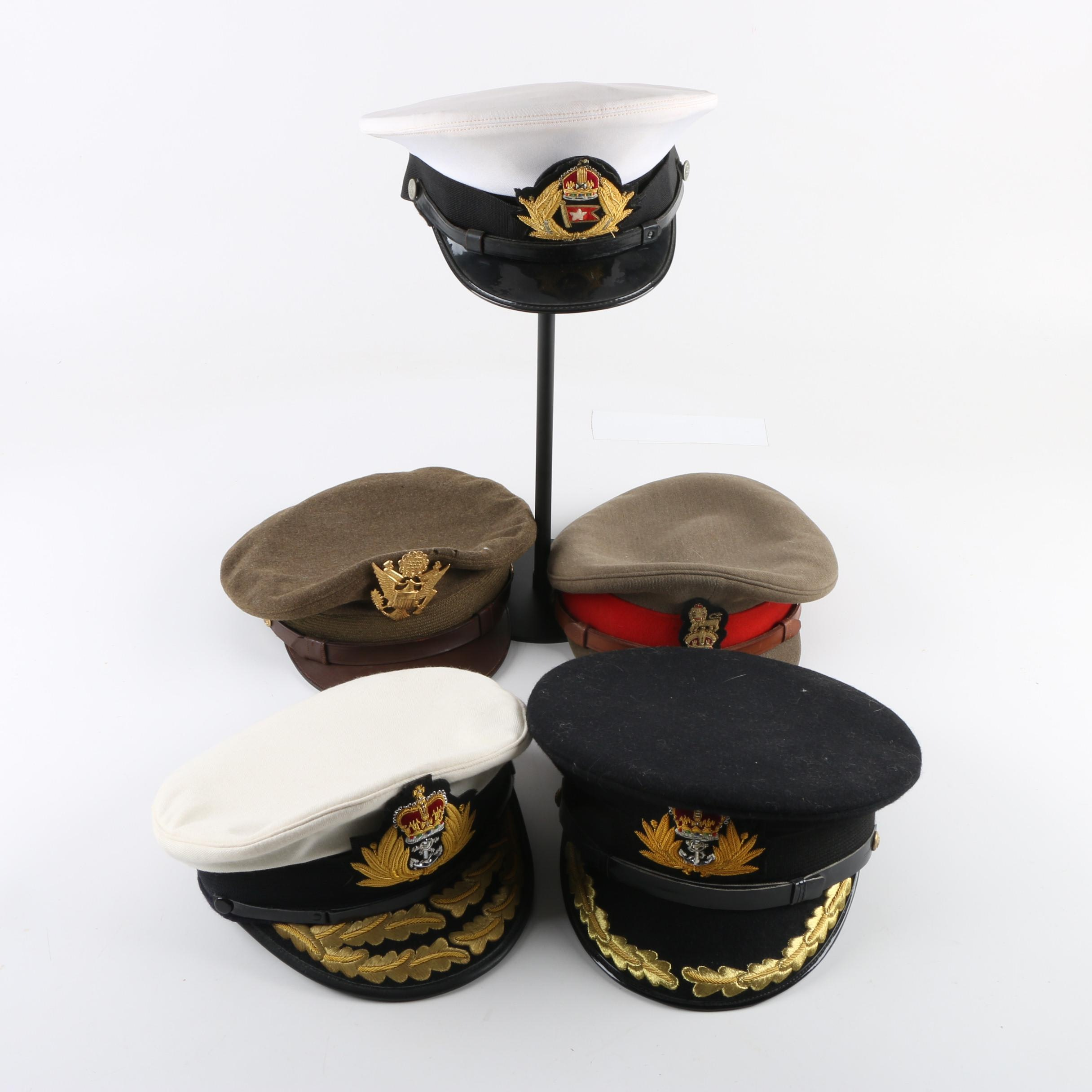 Vintage British Military and US Army Officers Peaked Caps