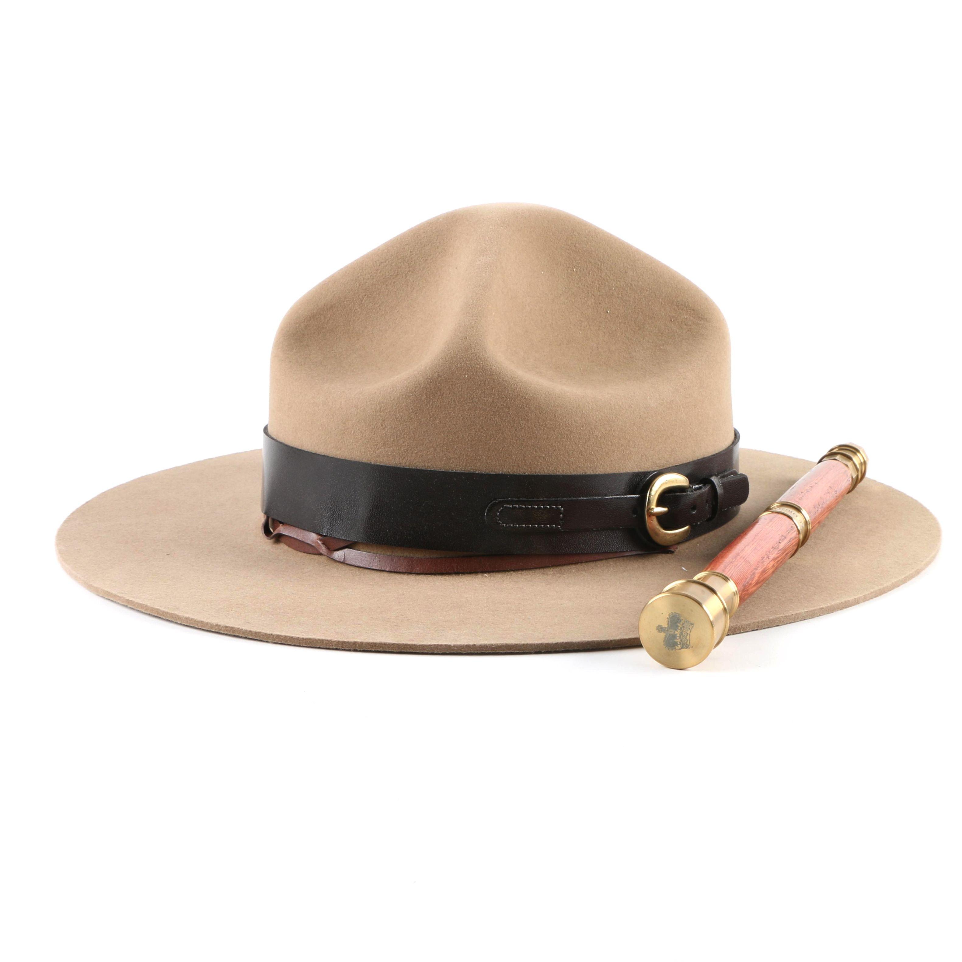 Men's Vintage Biltmore Royal Canadian Mounted Police Hat and Wooden Baton