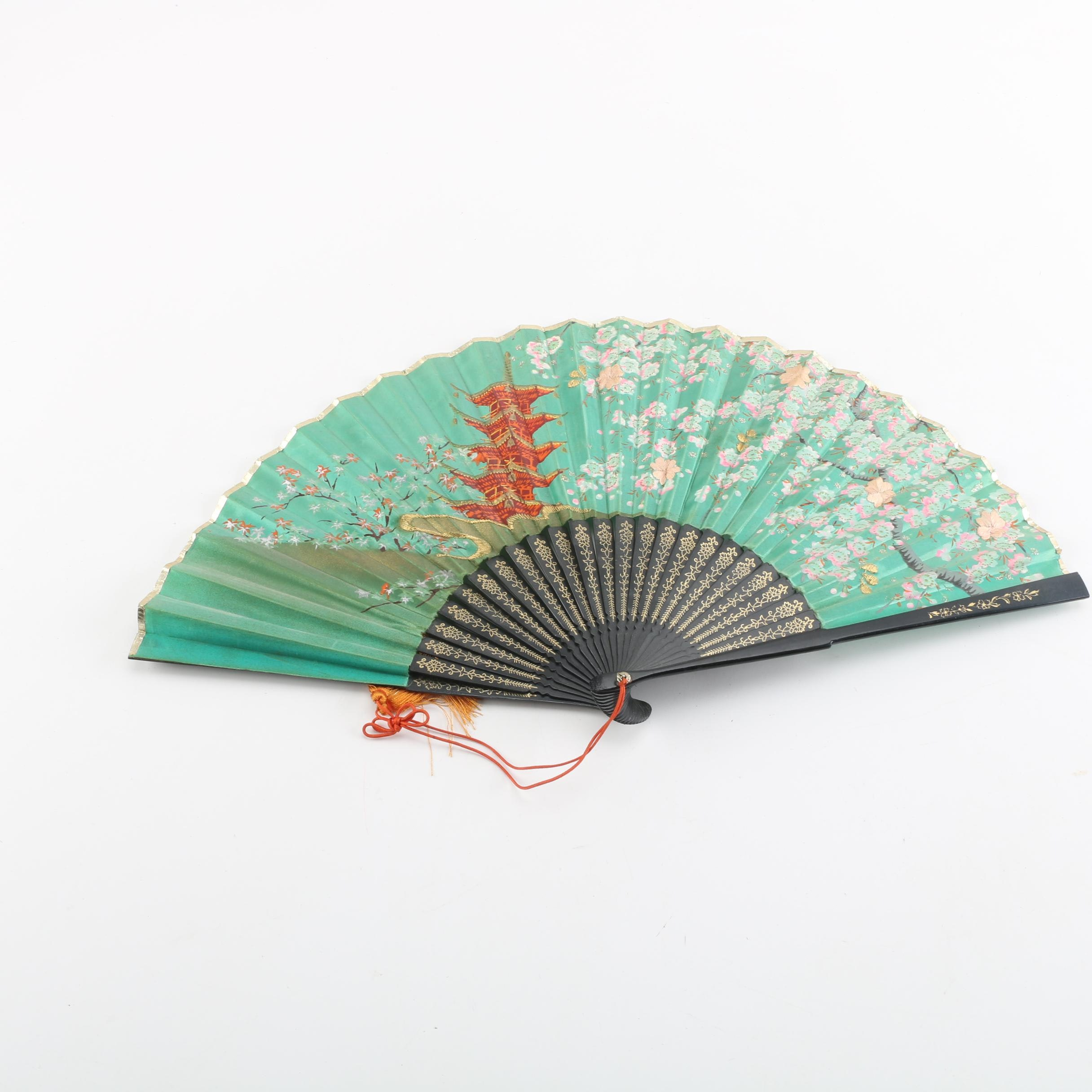 Vintage Chinese Hand-Painted and Embroidered Fabric Folding Fan