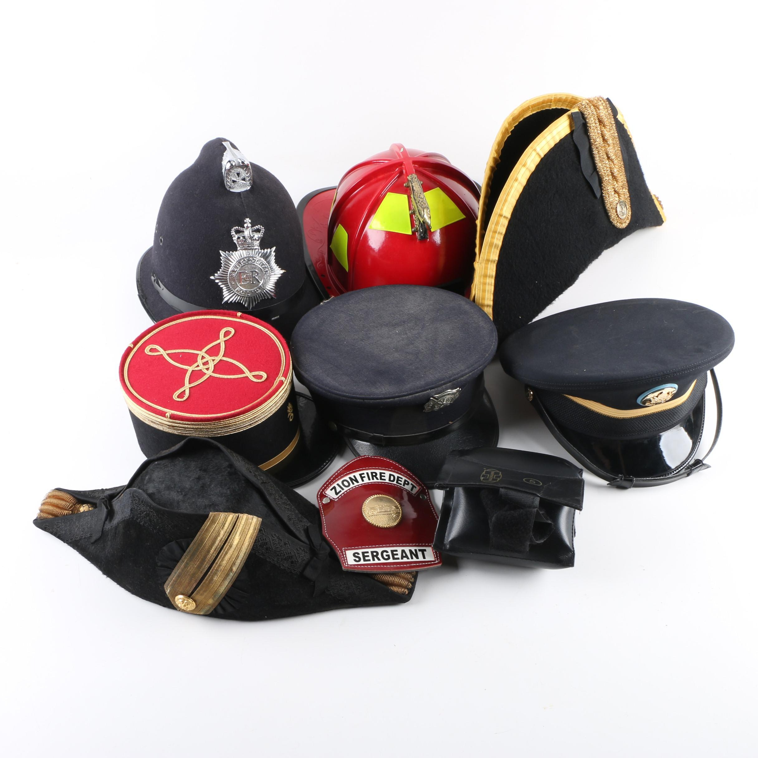 Vintage Fire, Police and Bicorn Hats Including Five Pound Weight