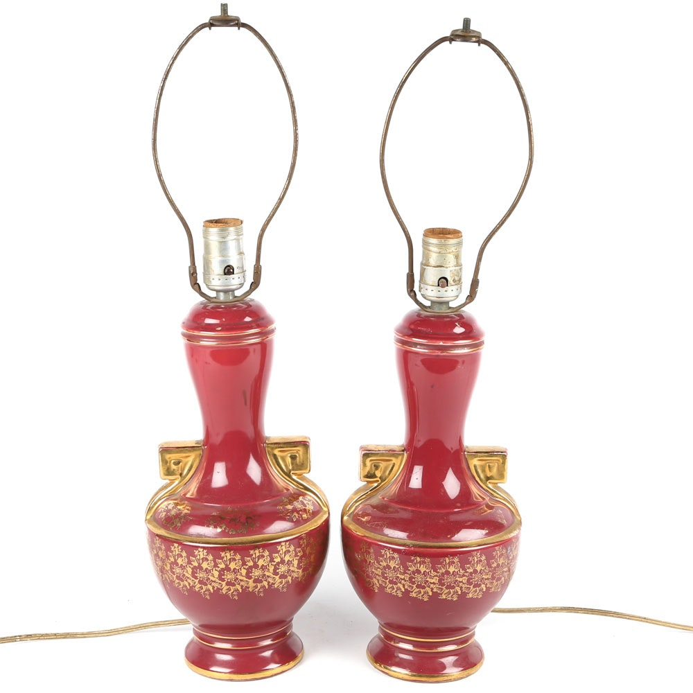 Vintage Neoclassical Style Porcelain Table Lamps
