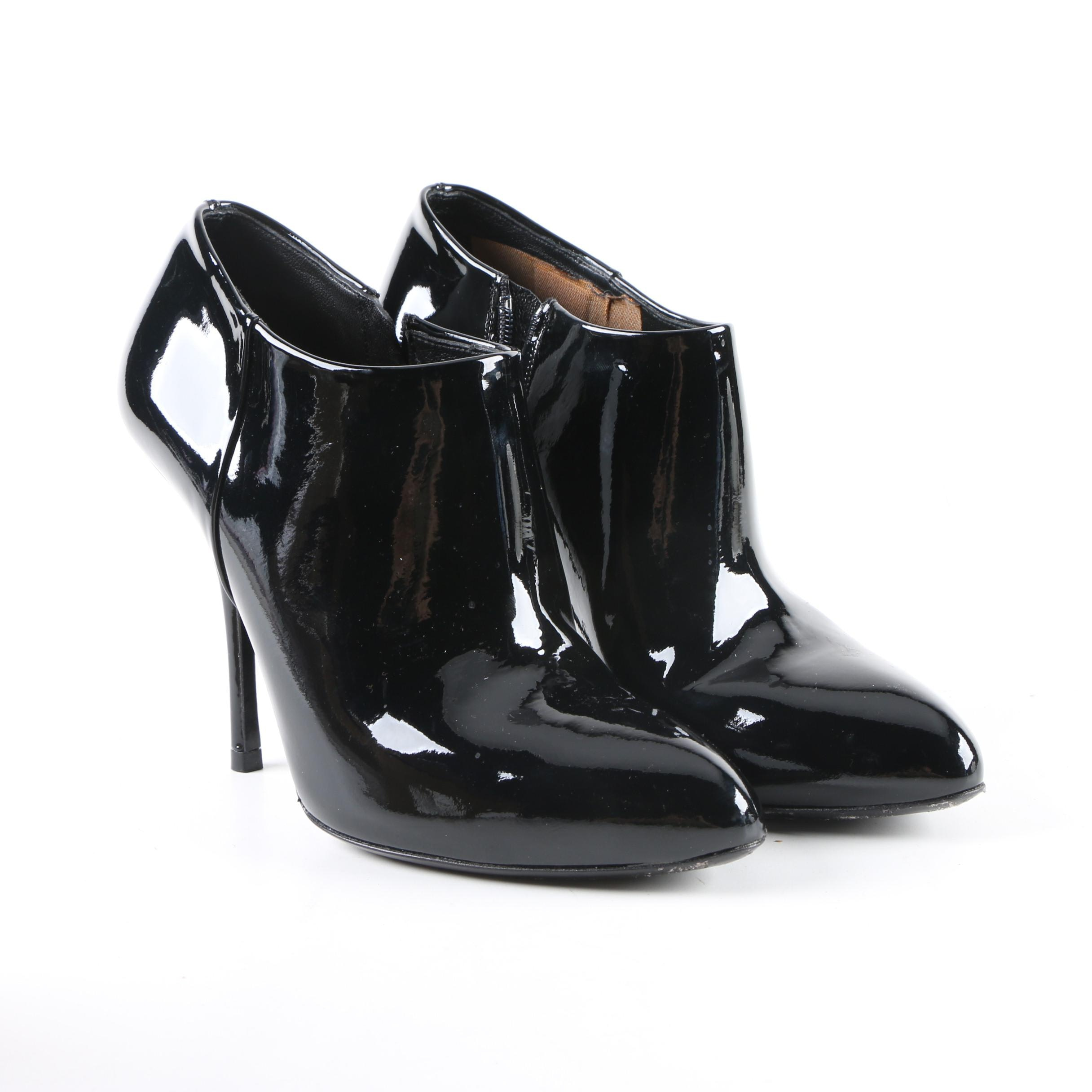 Women's Gucci Black Patent Leather Booties