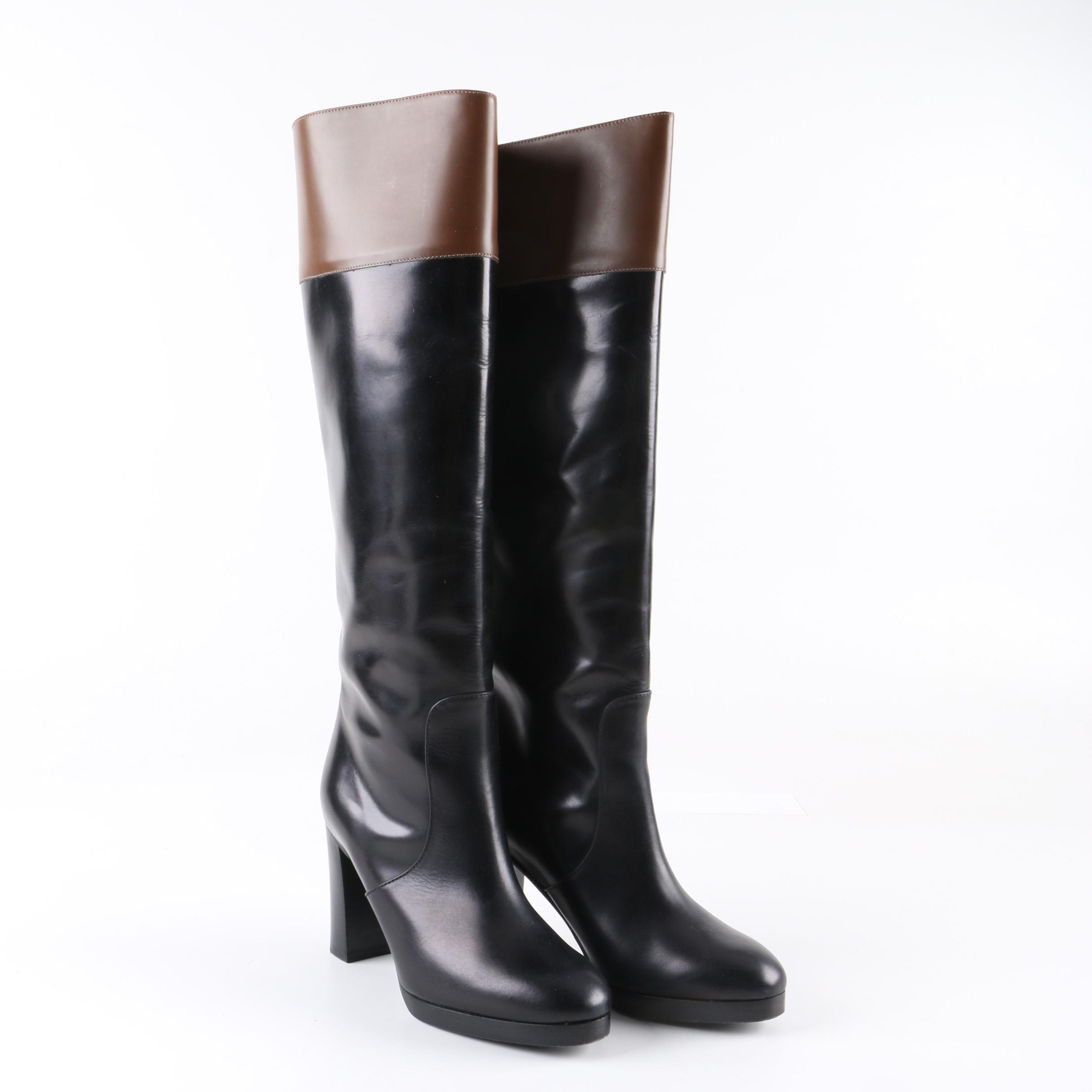 Women's Michael Kors Black Leather Knee-High Boots Accented with Brown