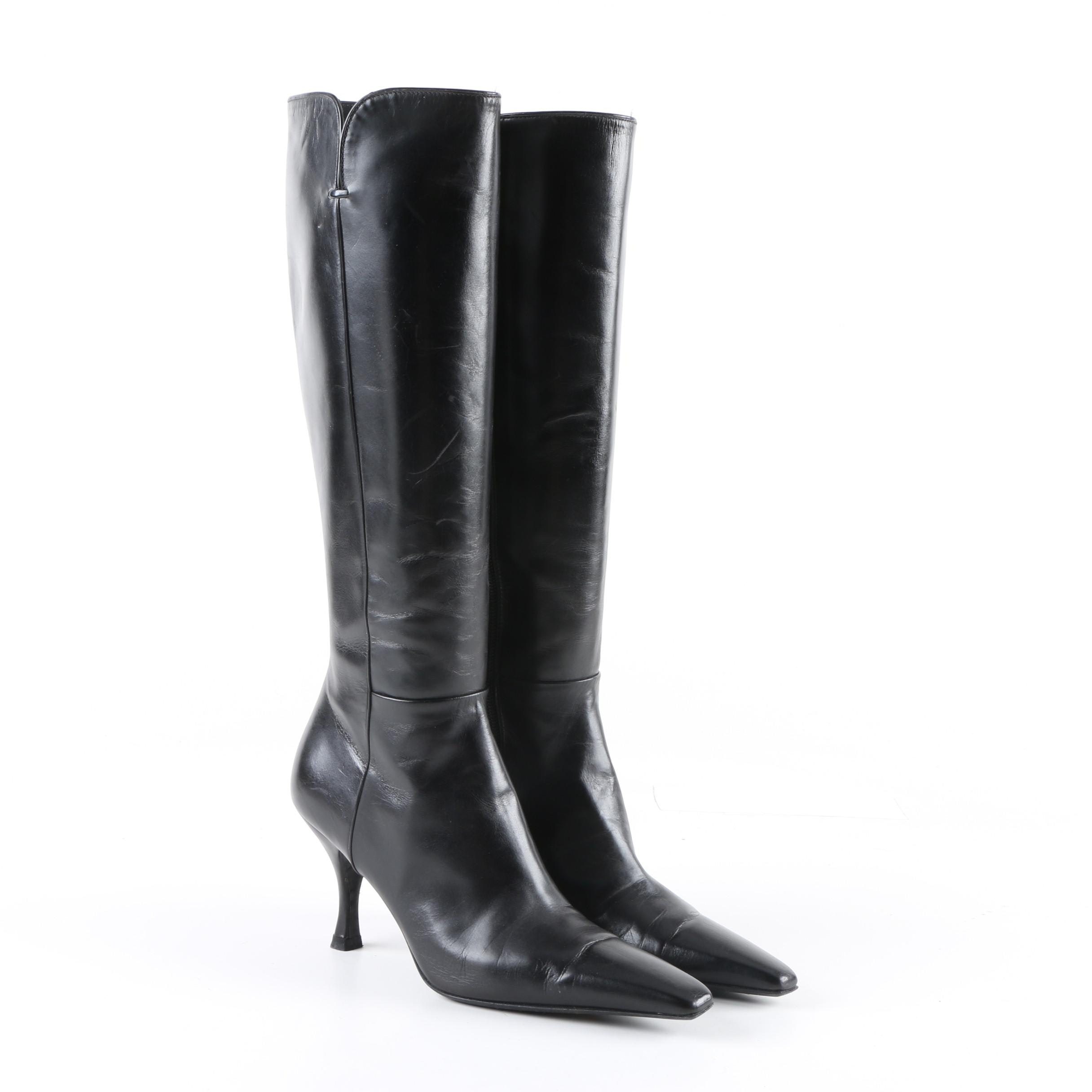 Women's Stuart Weitzman Black Leather High-Heeled Boots