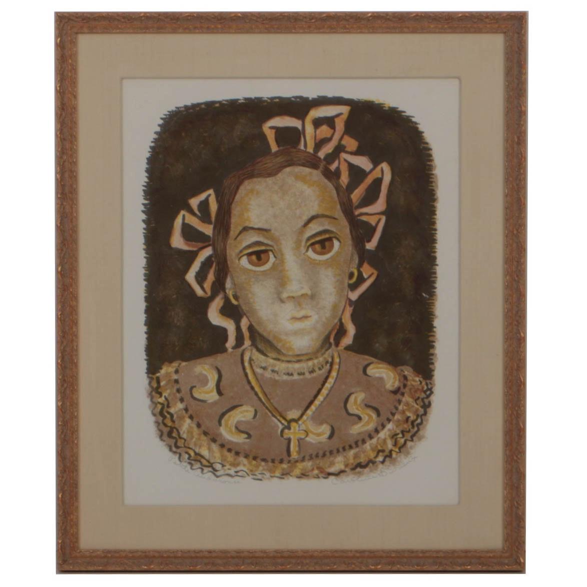 """Caroline Durieux Color Lithograph on Paper """"Petit Andolouse"""""""