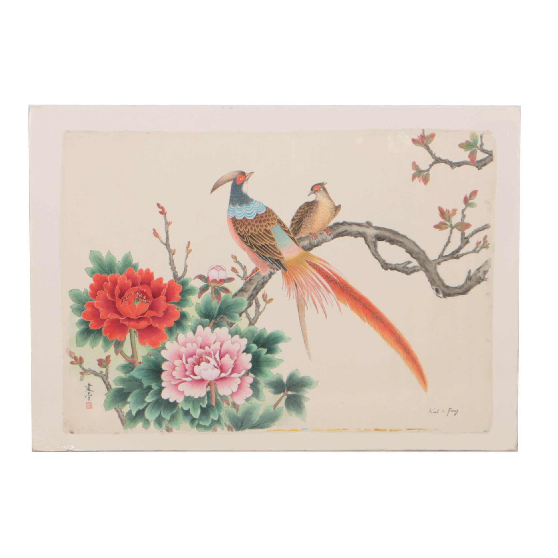 Karl J. Feng Watercolor Painting on Fabric of Pheasants