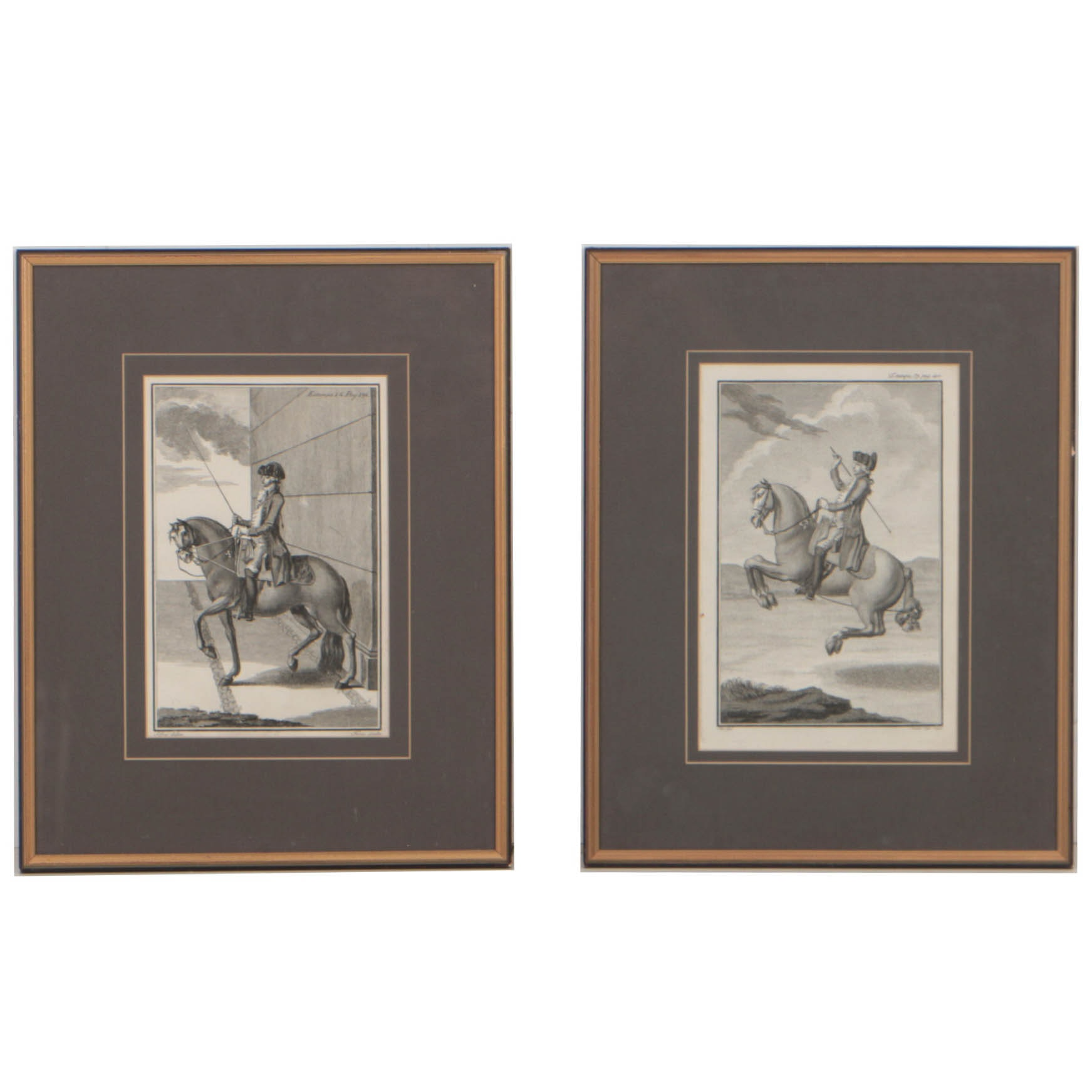 "Two 18th-Century Equestrian Engravings from ""...Nobre Arte da Cavallaria"""