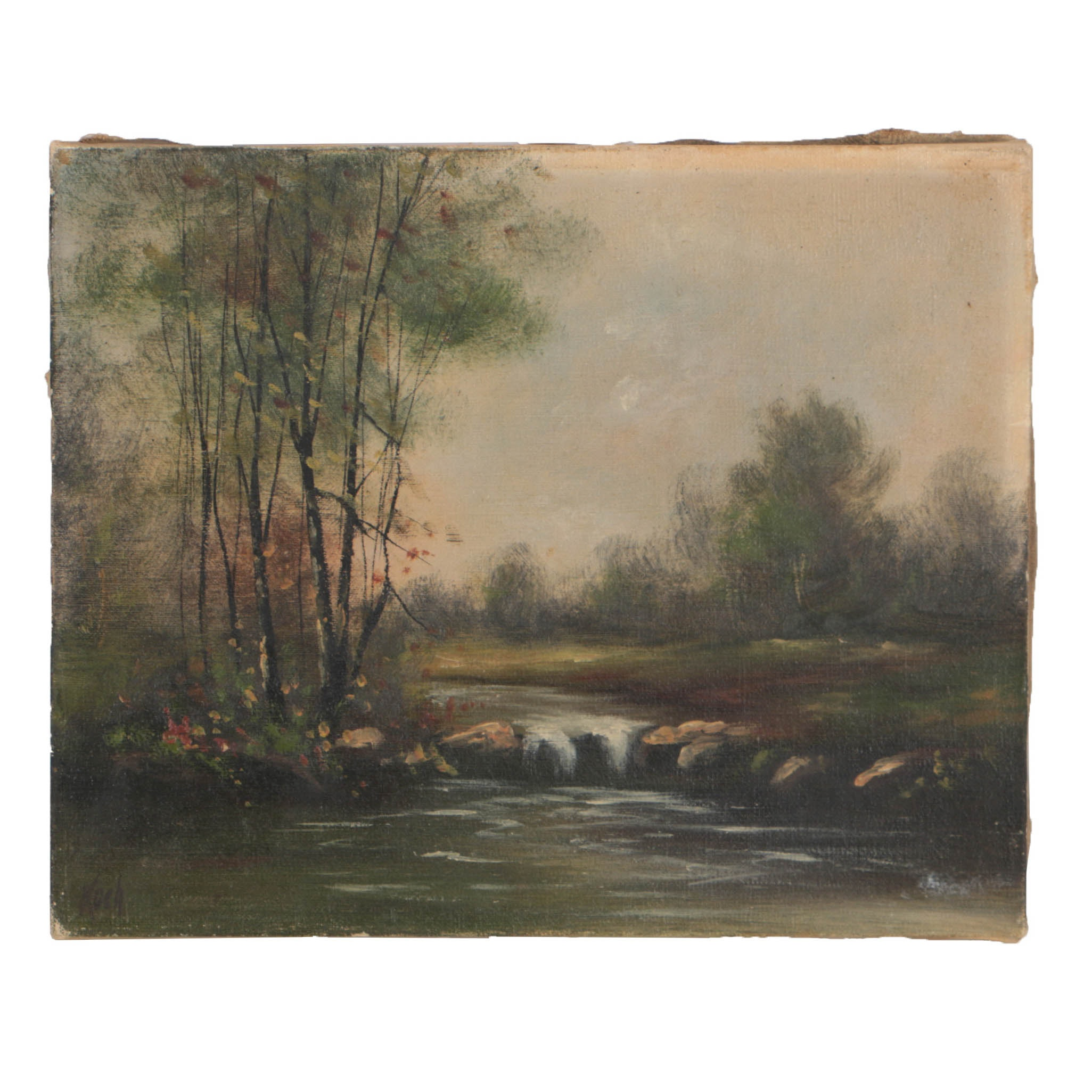 Koch Small-Scale Oil Painting on Canvas Creek Landscape