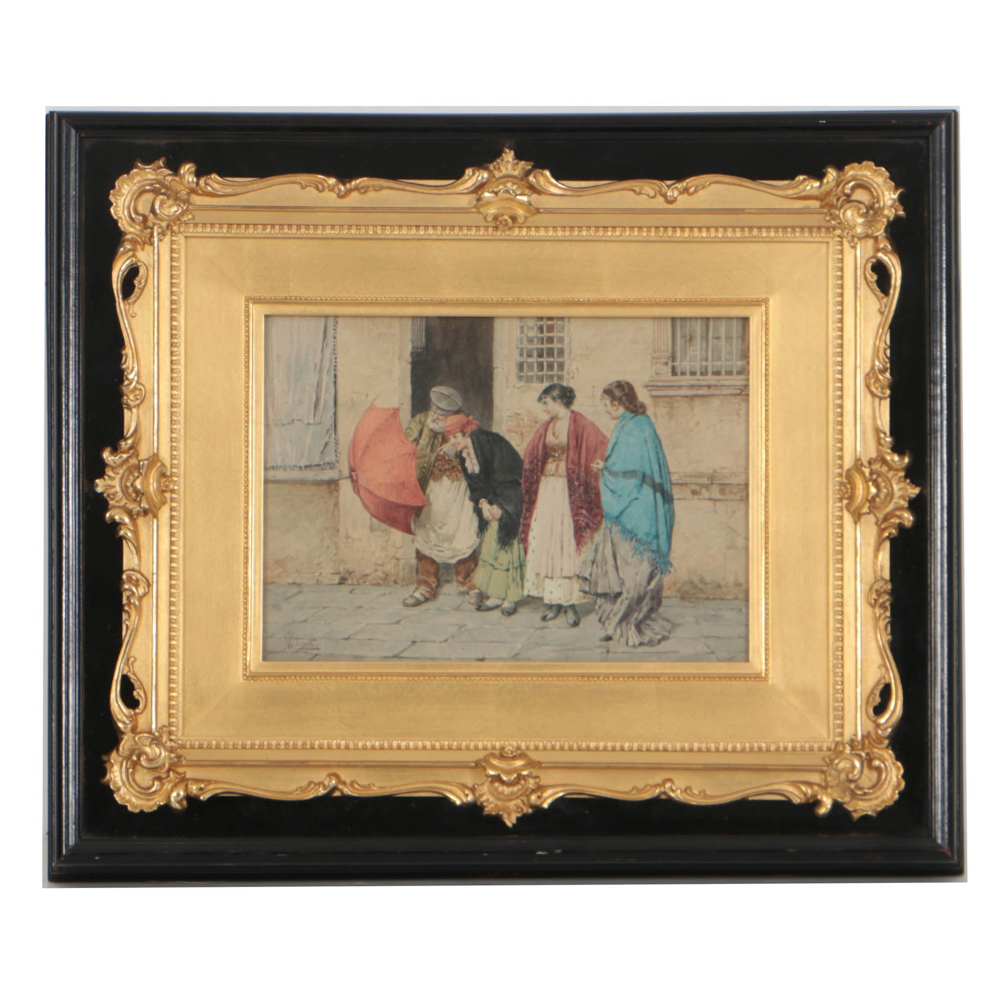 M. Roberti 19th Century Watercolor on Paper of Gypsies