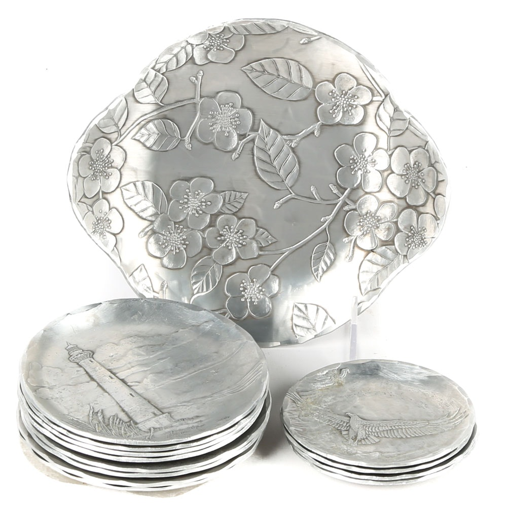 Wendell August Forge Pewter Coasters and Tray