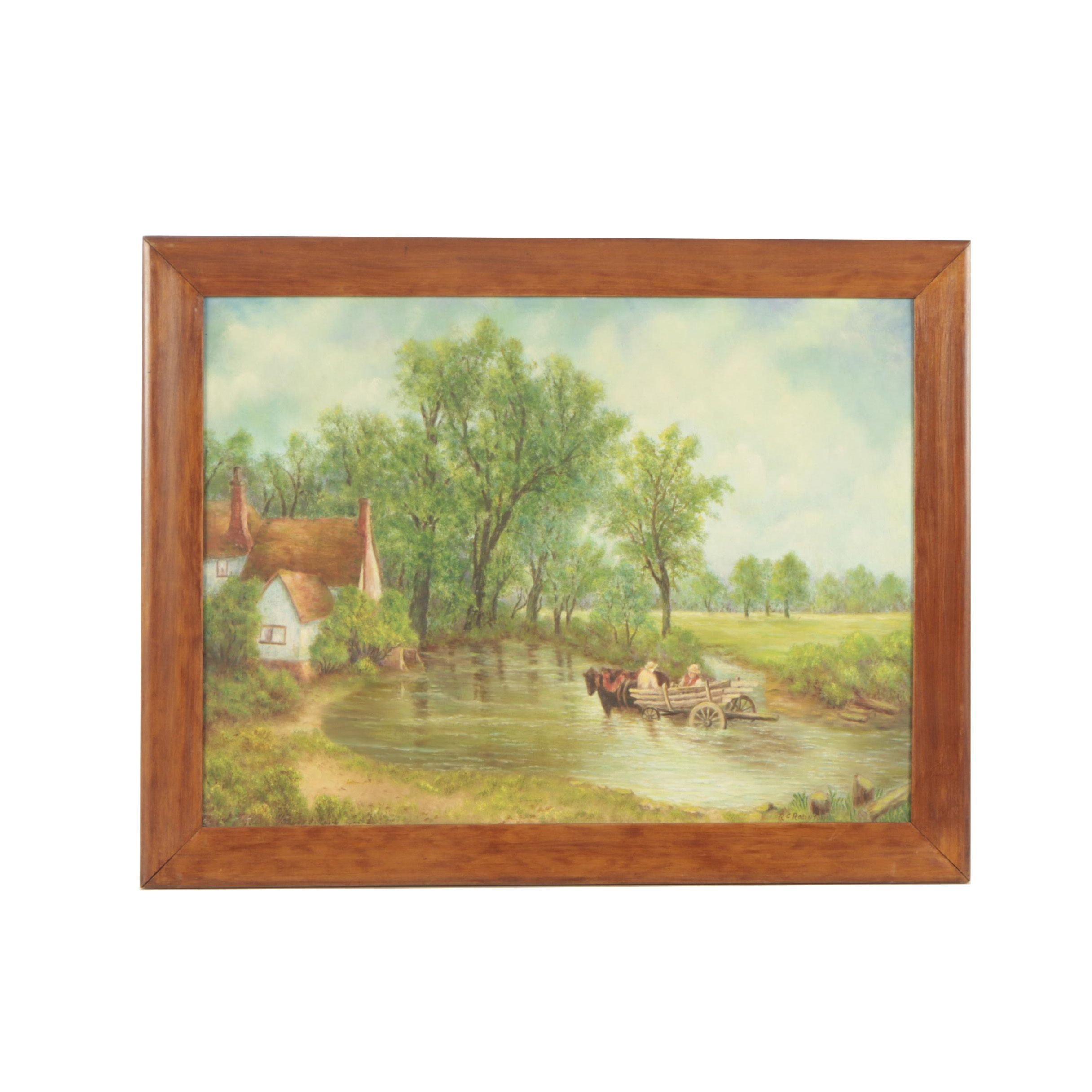 R. C. Robinson Oil Painting of a Pastoral Scene