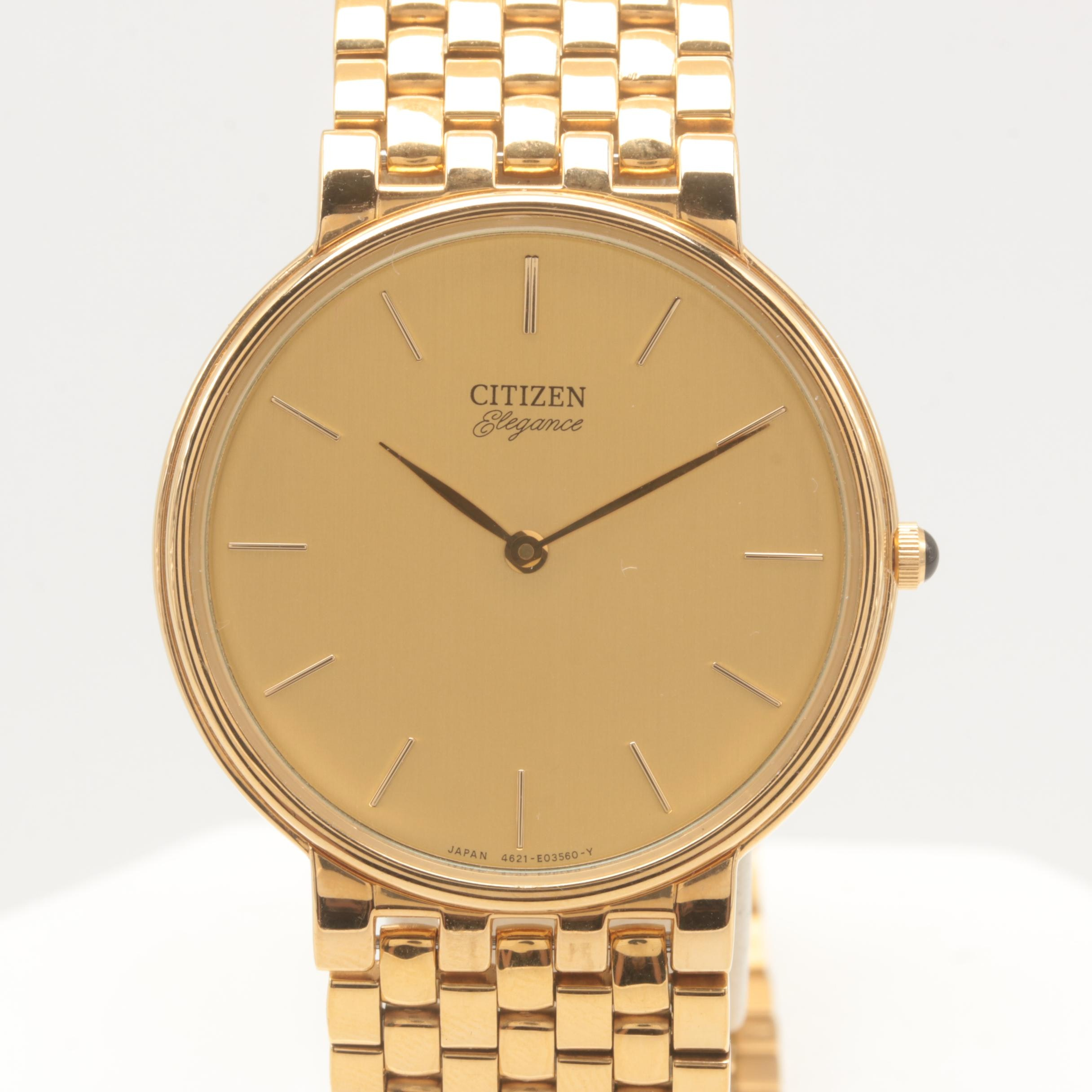 Citizen Gold Tone Stainless Steel Wristwatch with Box