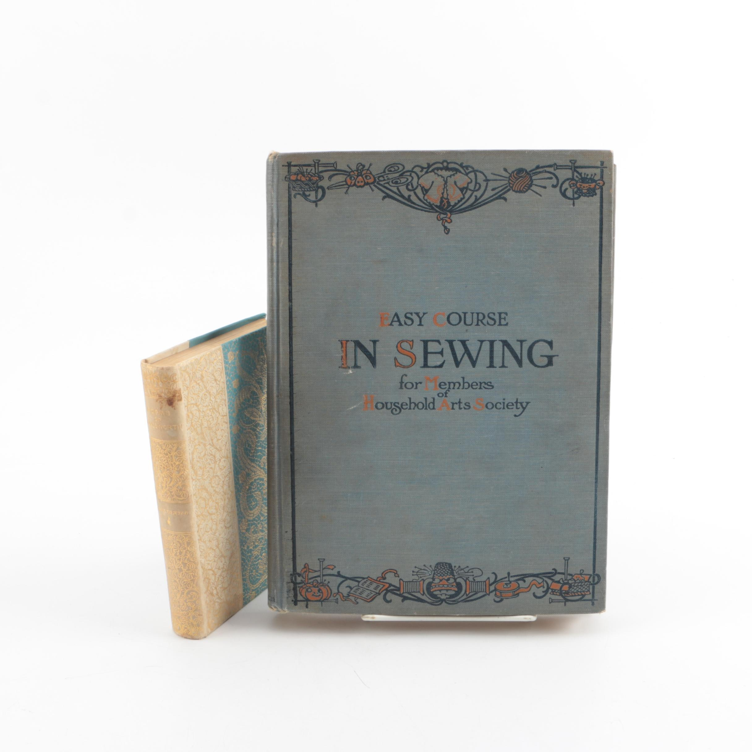 "Antique Books Including William Wordsworth Poetry and ""Easy Course in Sewing"""