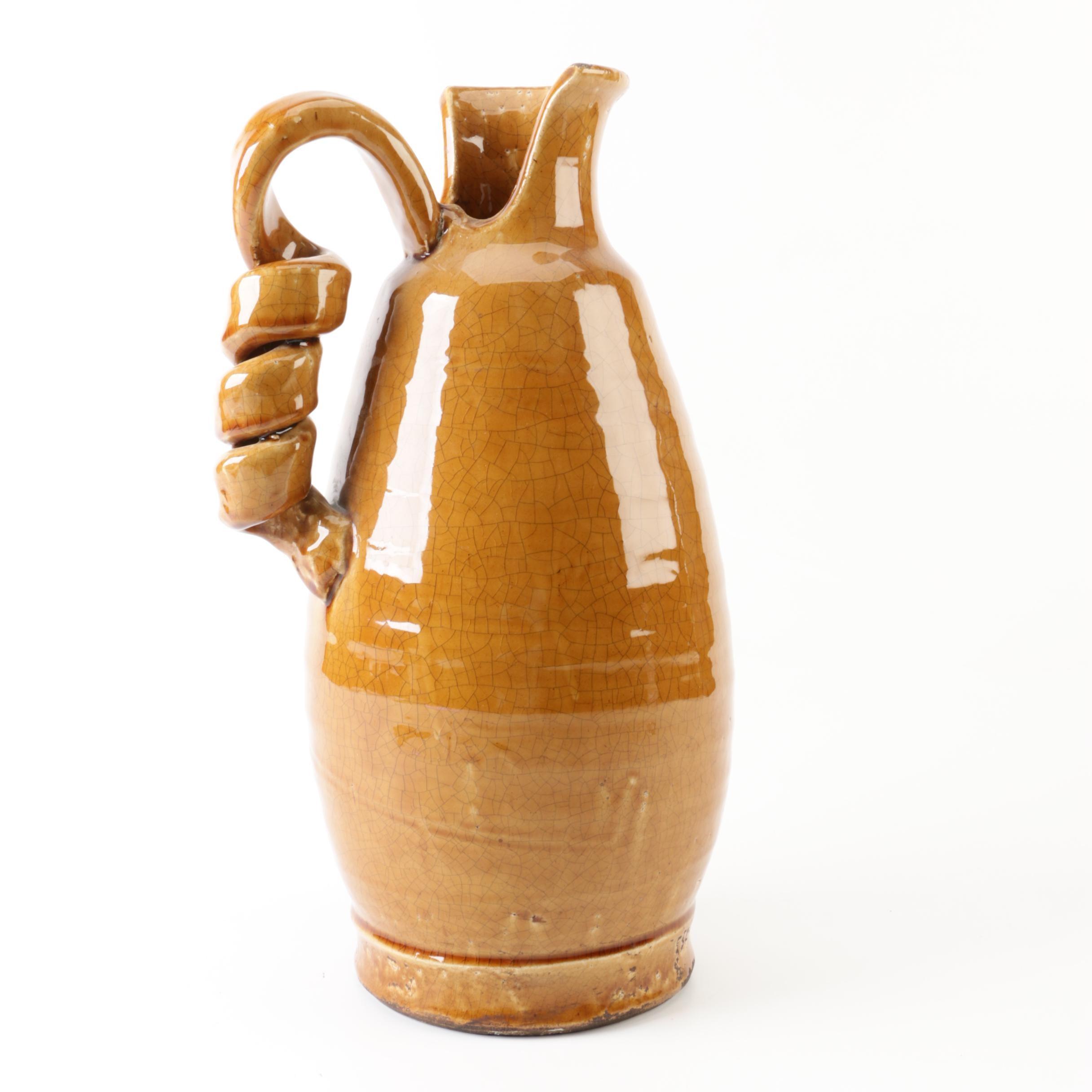 Decorative Ceramic Vase with Corkscrew Handle