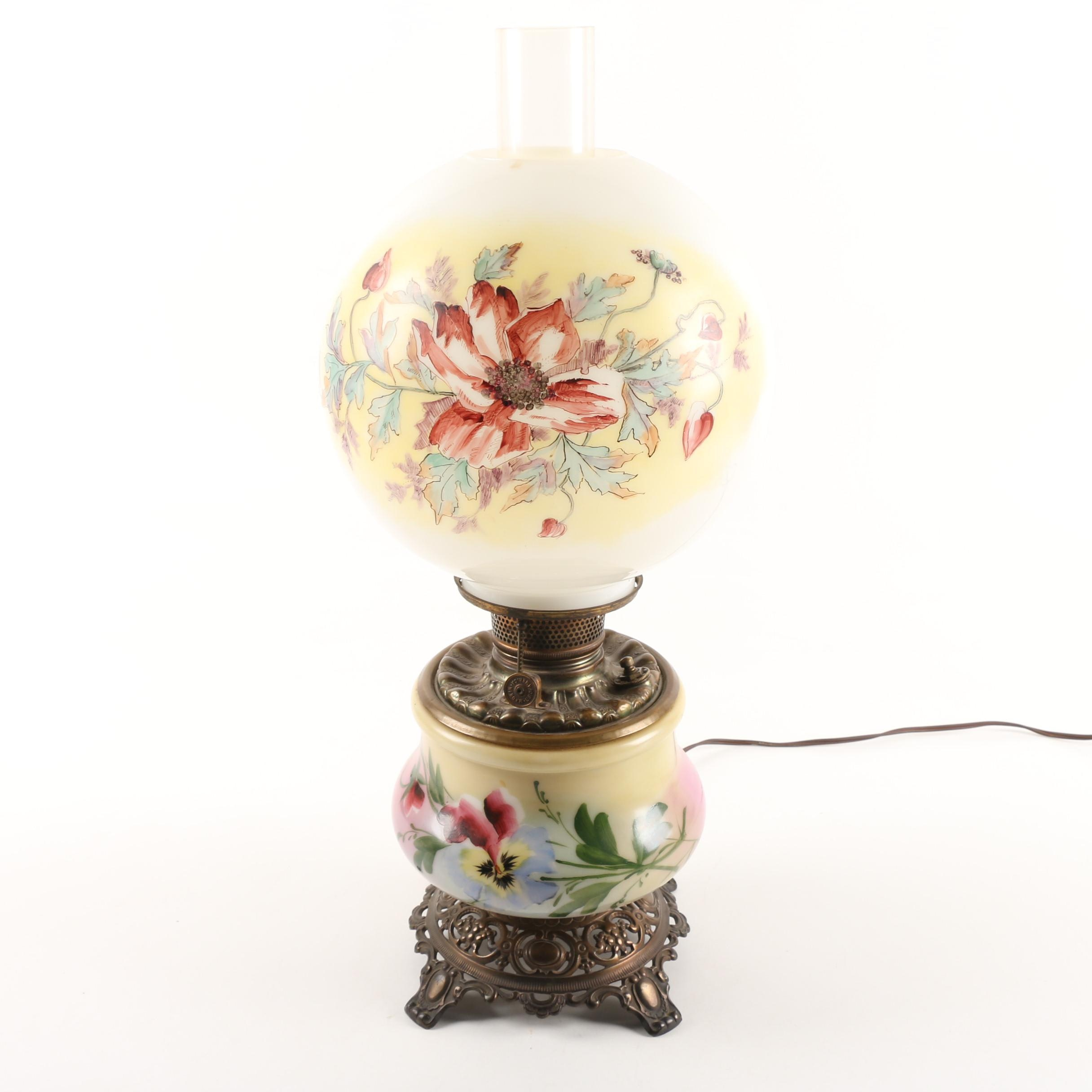 Vintage Hand-Painted Glass Double Globe Hurricane Parlor Lamp
