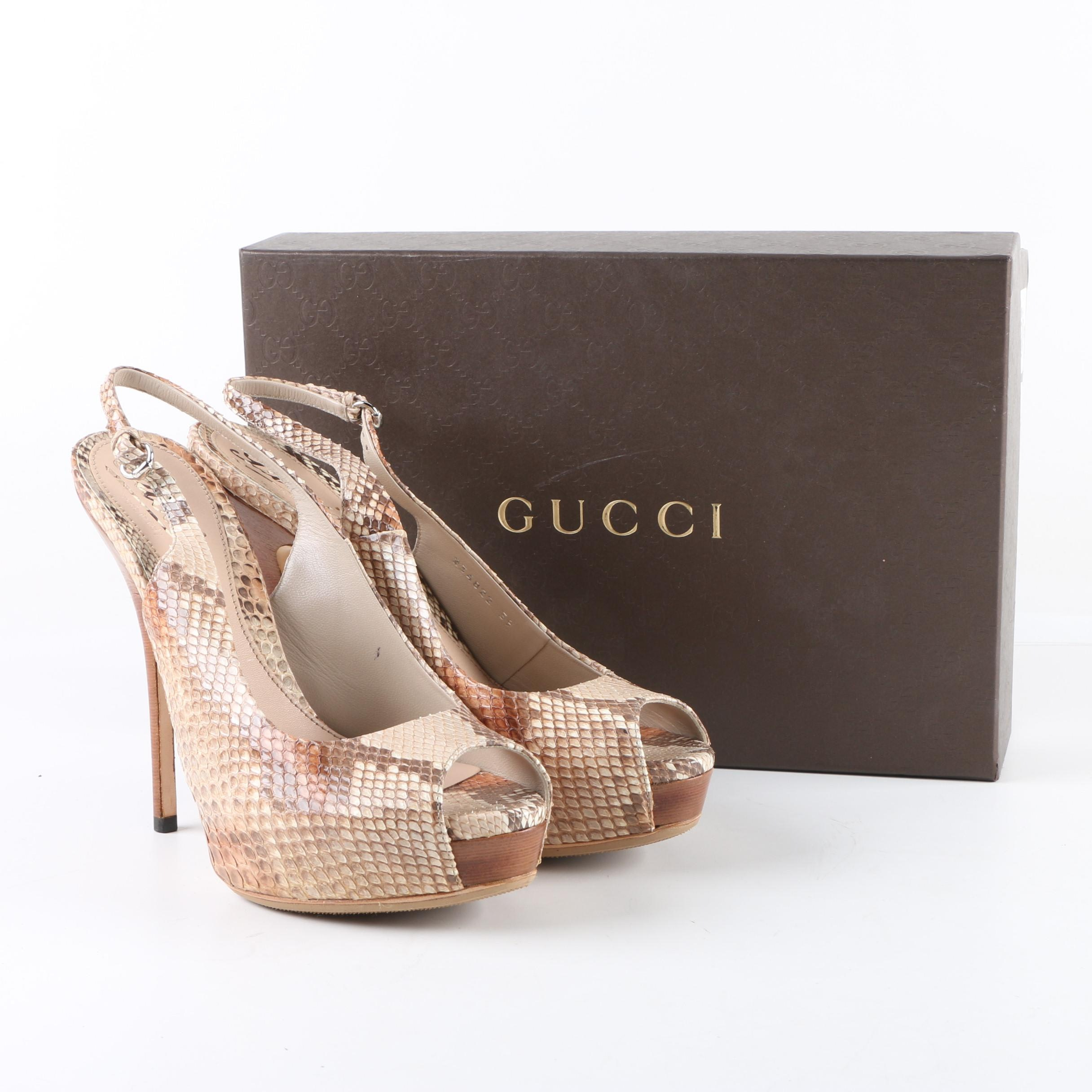 Gucci Beige and Brown Python Skin Platform Pumps