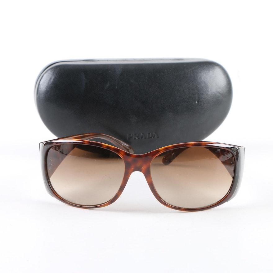 0222220873 Prada Tortoiseshell Style Sunglasses with Case   EBTH